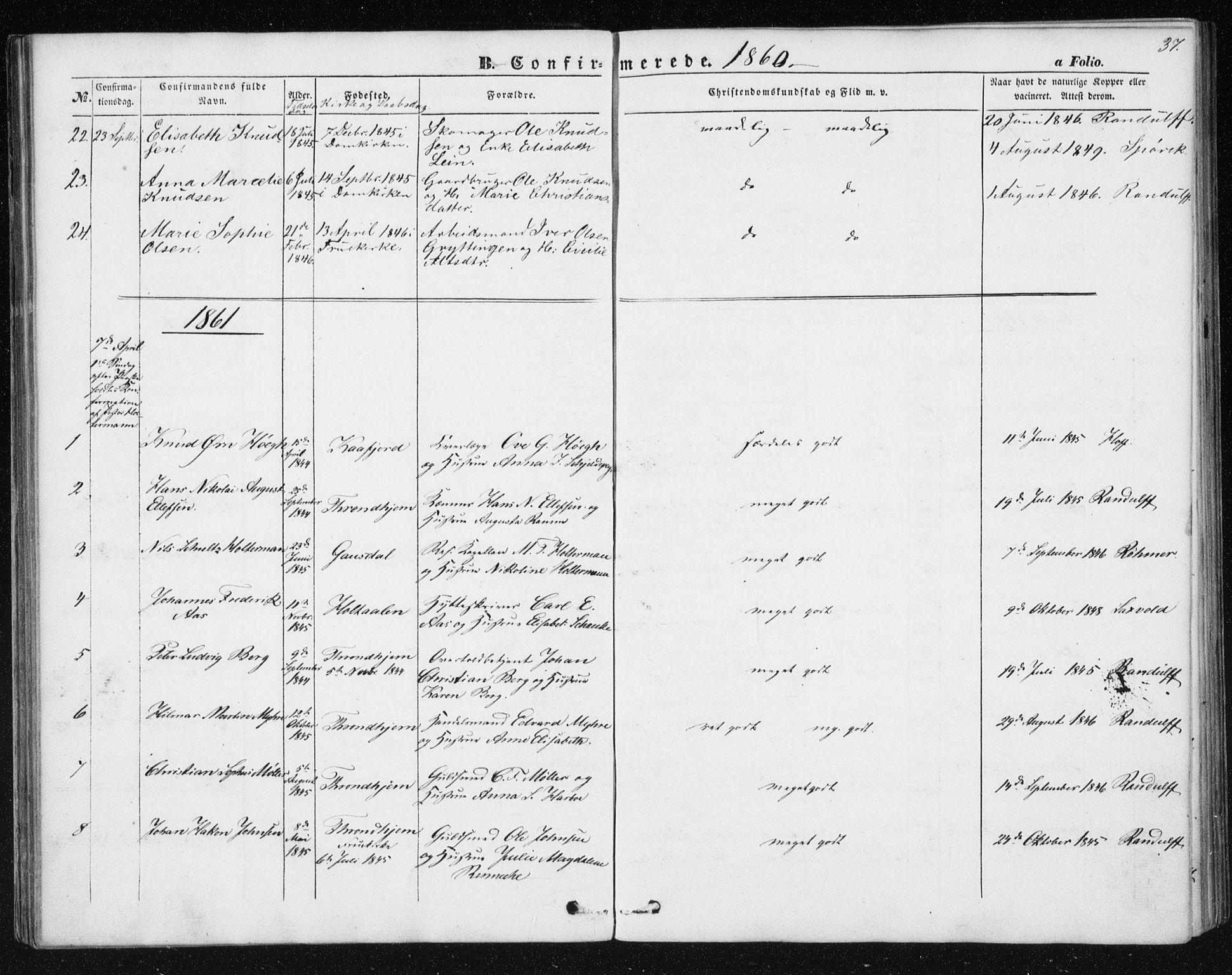 SAT, Ministerialprotokoller, klokkerbøker og fødselsregistre - Sør-Trøndelag, 602/L0114: Ministerialbok nr. 602A12, 1856-1872, s. 37