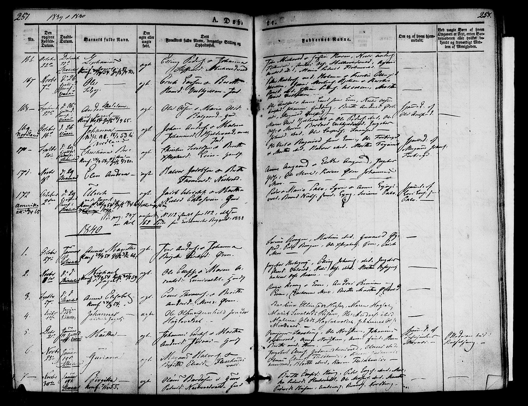 SAT, Ministerialprotokoller, klokkerbøker og fødselsregistre - Nord-Trøndelag, 723/L0238: Ministerialbok nr. 723A07, 1831-1840, s. 257-258