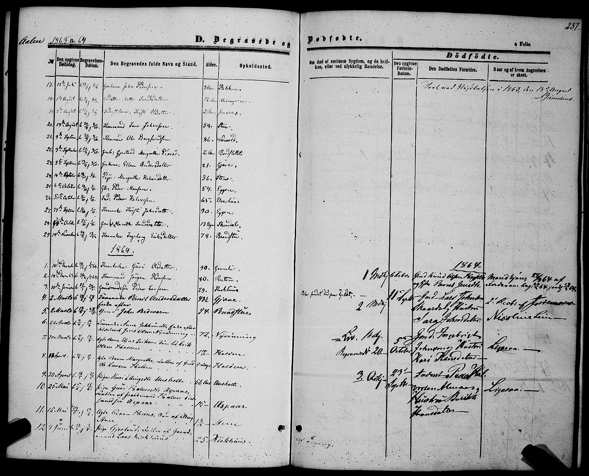 SAT, Ministerialprotokoller, klokkerbøker og fødselsregistre - Sør-Trøndelag, 685/L0968: Ministerialbok nr. 685A07 /3, 1860-1869, s. 237