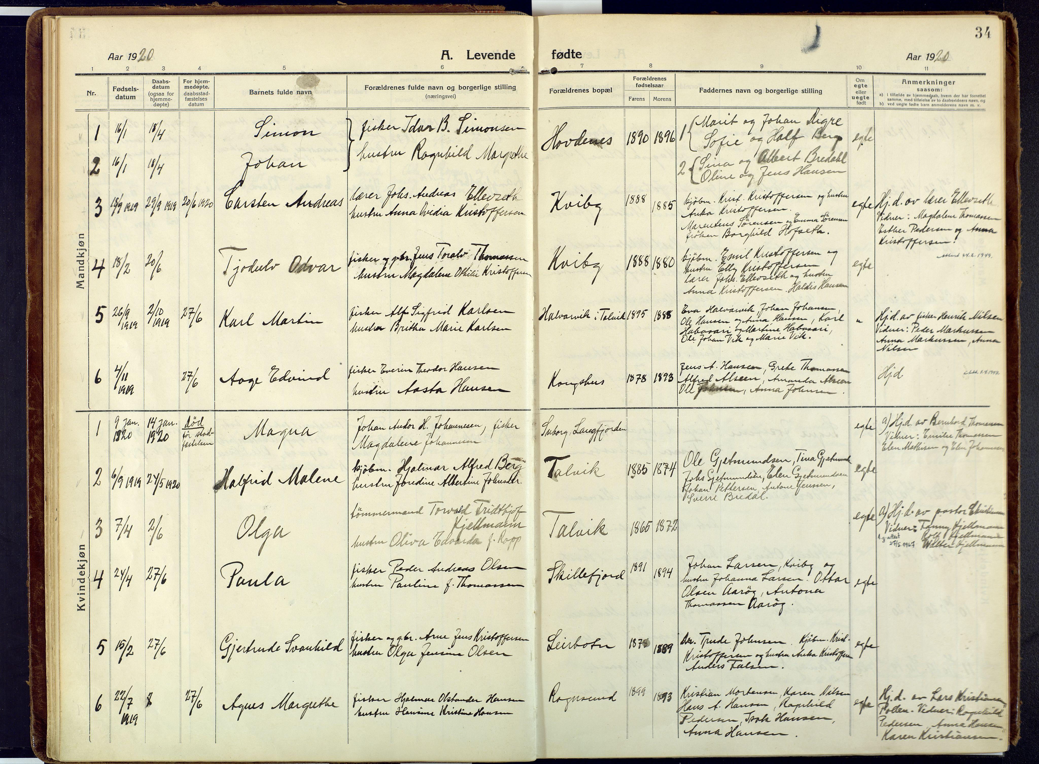 SATØ, Talvik sokneprestkontor, H/Ha/L0018kirke: Ministerialbok nr. 18, 1915-1924, s. 34