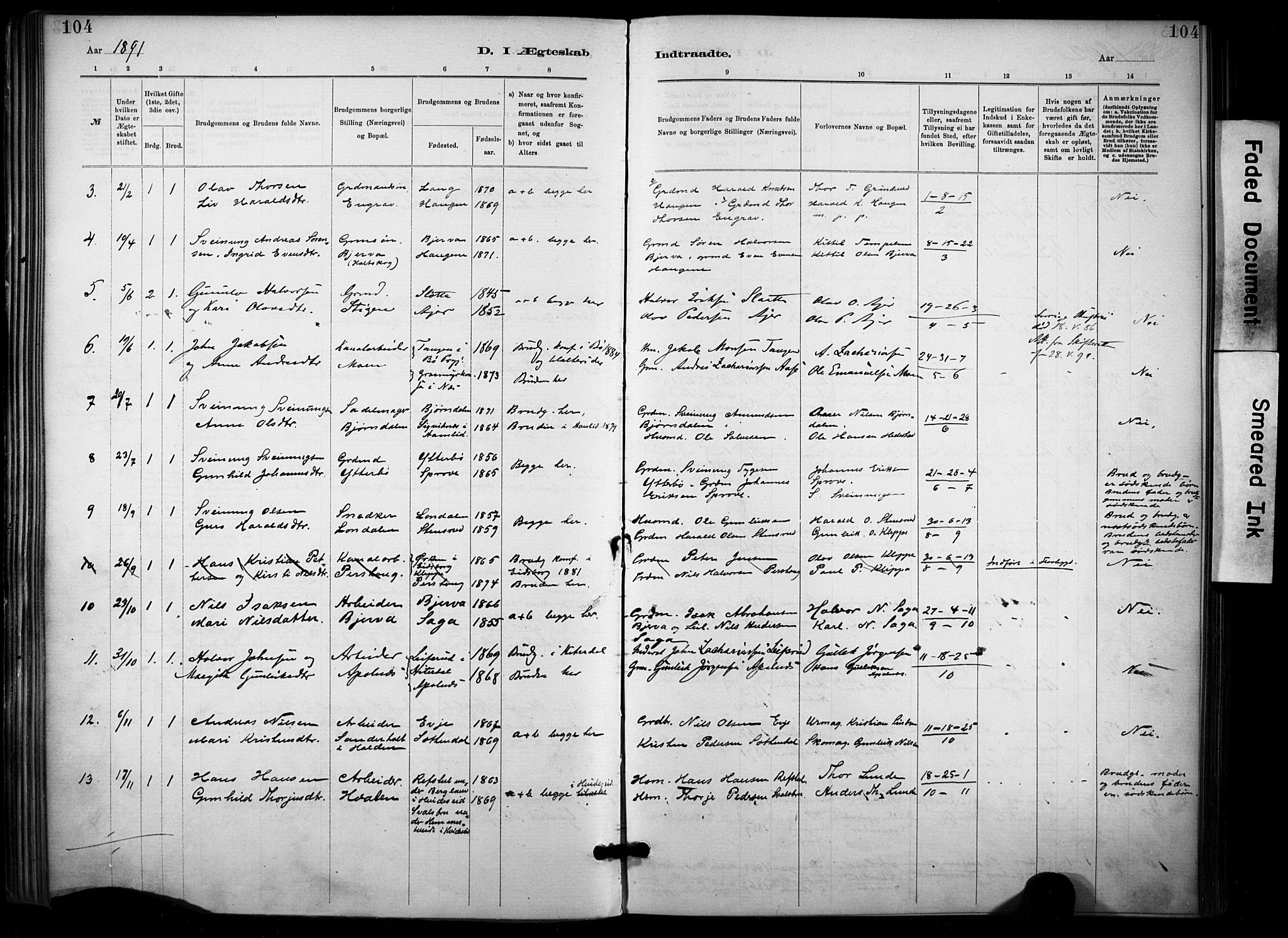 SAKO, Lunde kirkebøker, F/Fa/L0002: Ministerialbok nr. I 2, 1884-1892, s. 104