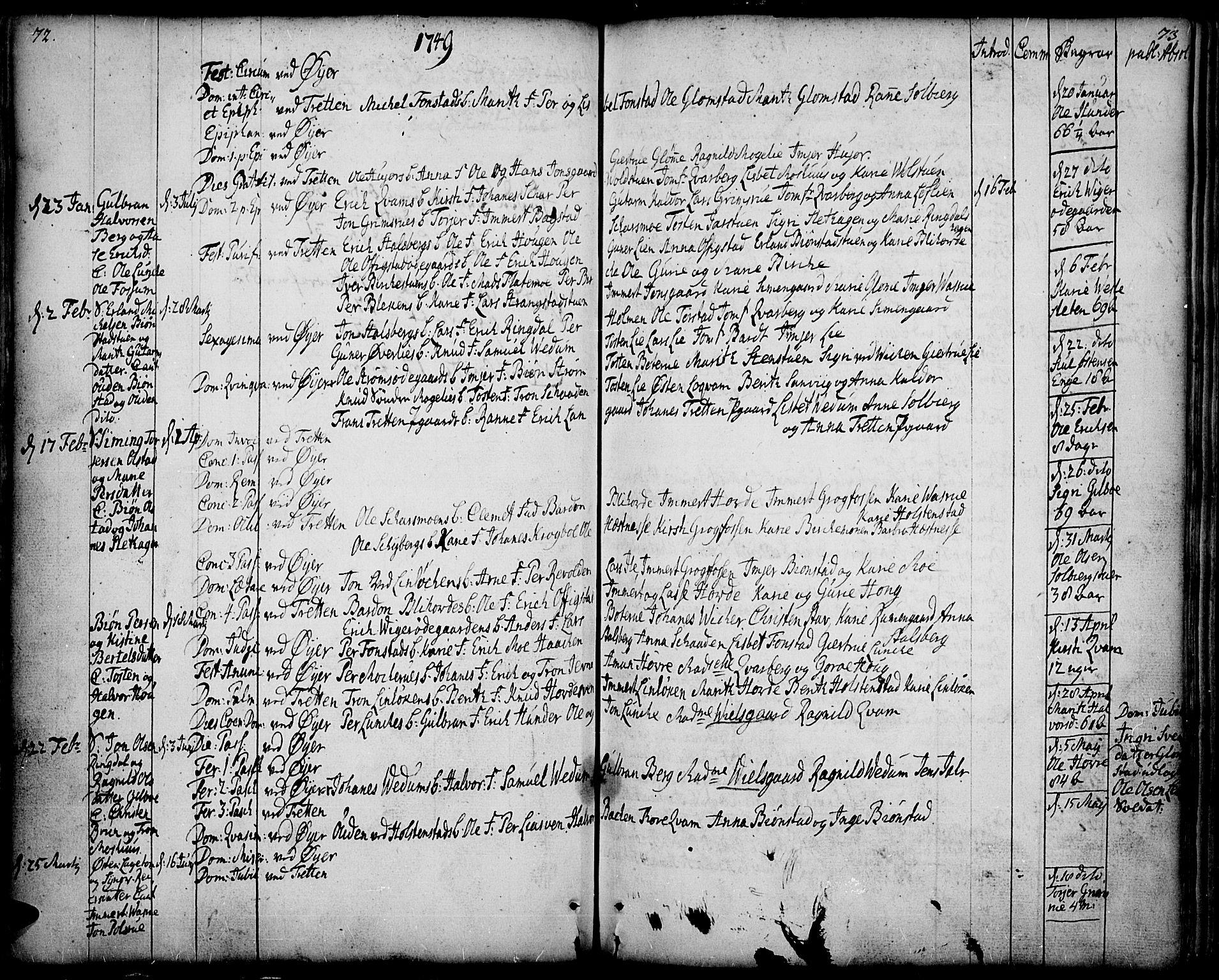 SAH, Øyer prestekontor, Ministerialbok nr. 2, 1733-1784, s. 72-73