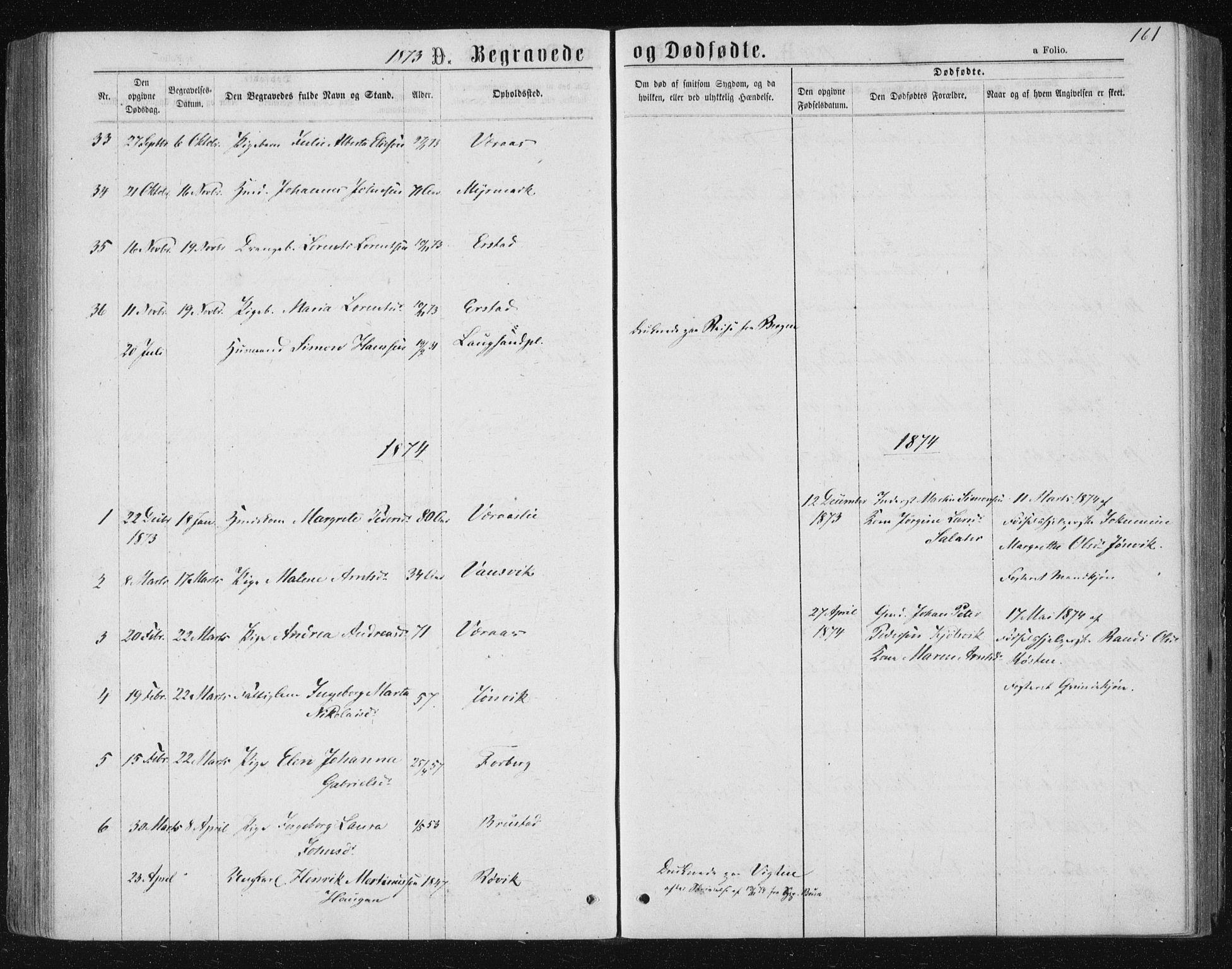 SAT, Ministerialprotokoller, klokkerbøker og fødselsregistre - Nord-Trøndelag, 722/L0219: Ministerialbok nr. 722A06, 1868-1880, s. 161