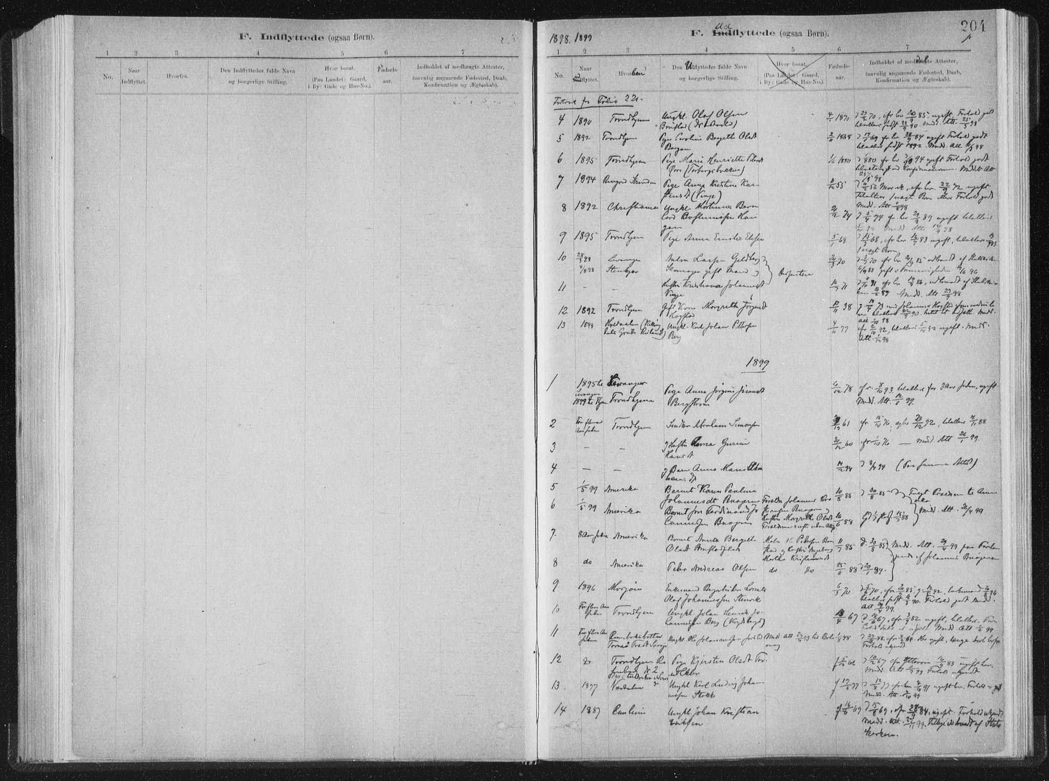 SAT, Ministerialprotokoller, klokkerbøker og fødselsregistre - Nord-Trøndelag, 722/L0220: Ministerialbok nr. 722A07, 1881-1908, s. 204
