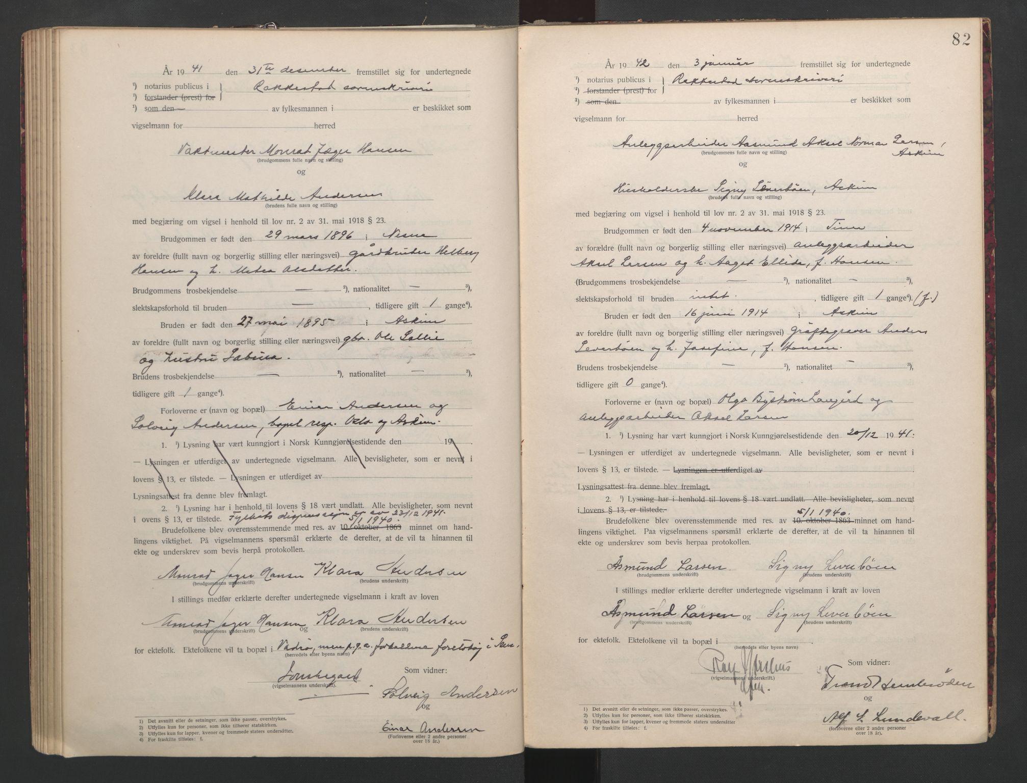 SAO, Rakkestad sorenskriveri, L/Lc/Lca/L0001: Vigselbøker, 1920-1942, s. 82