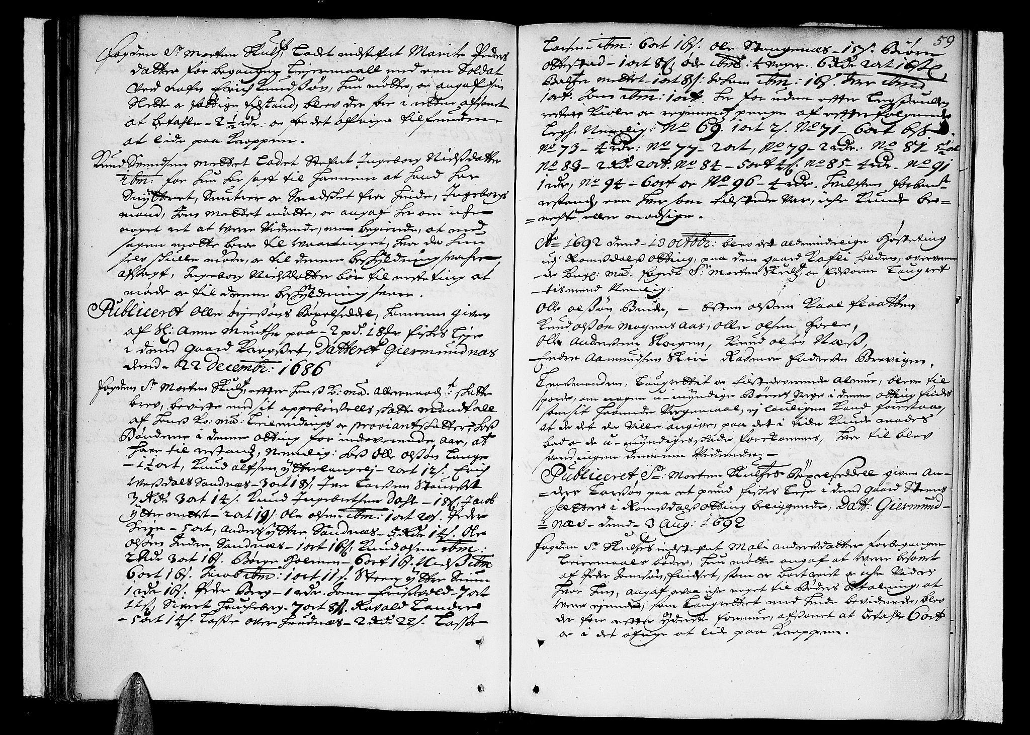 SAT, Romsdal sorenskriveri, 1/1A/L0002: Tingbok, 1690-1693, s. 58b-59a