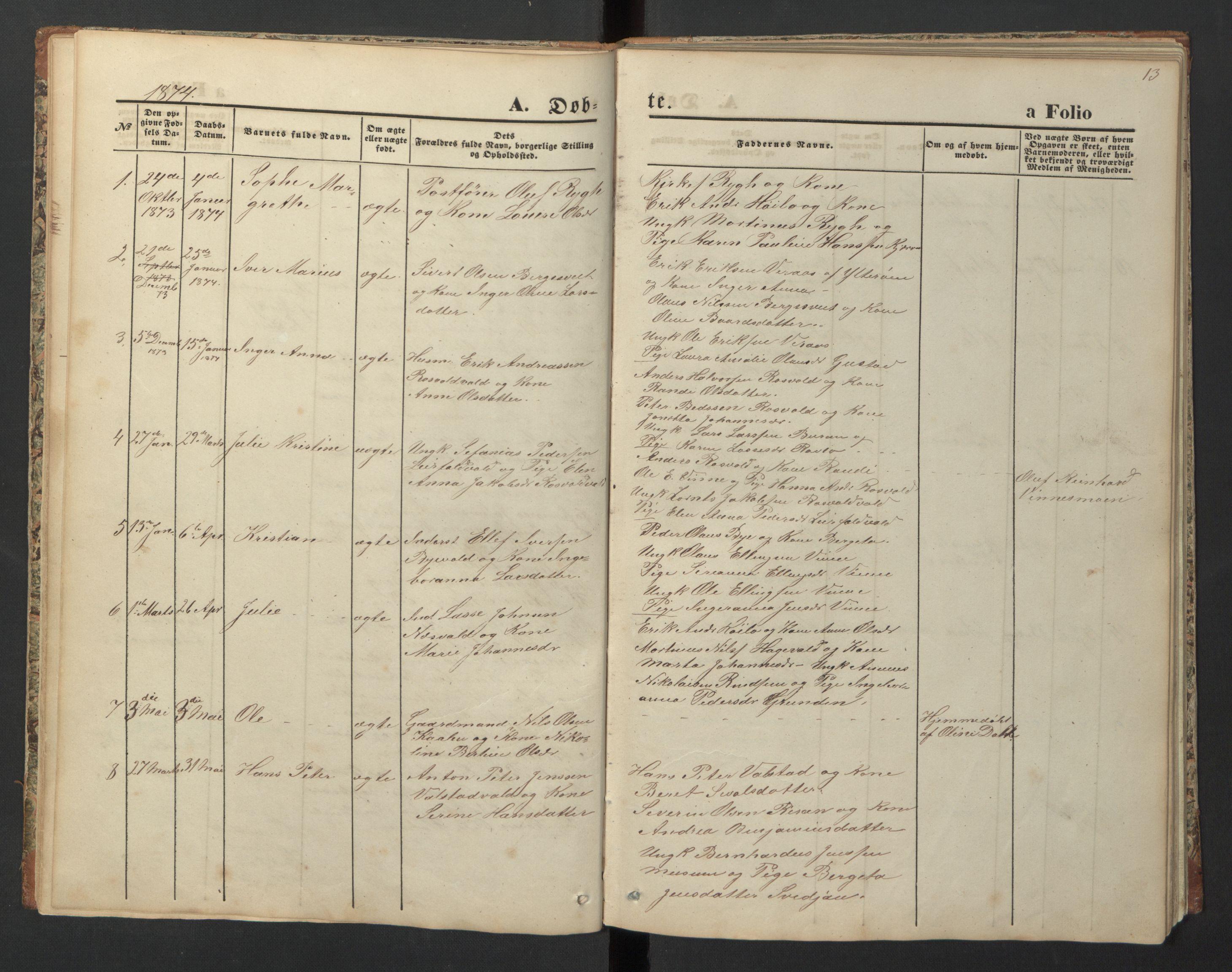 SAT, Ministerialprotokoller, klokkerbøker og fødselsregistre - Nord-Trøndelag, 726/L0271: Klokkerbok nr. 726C02, 1869-1897, s. 13