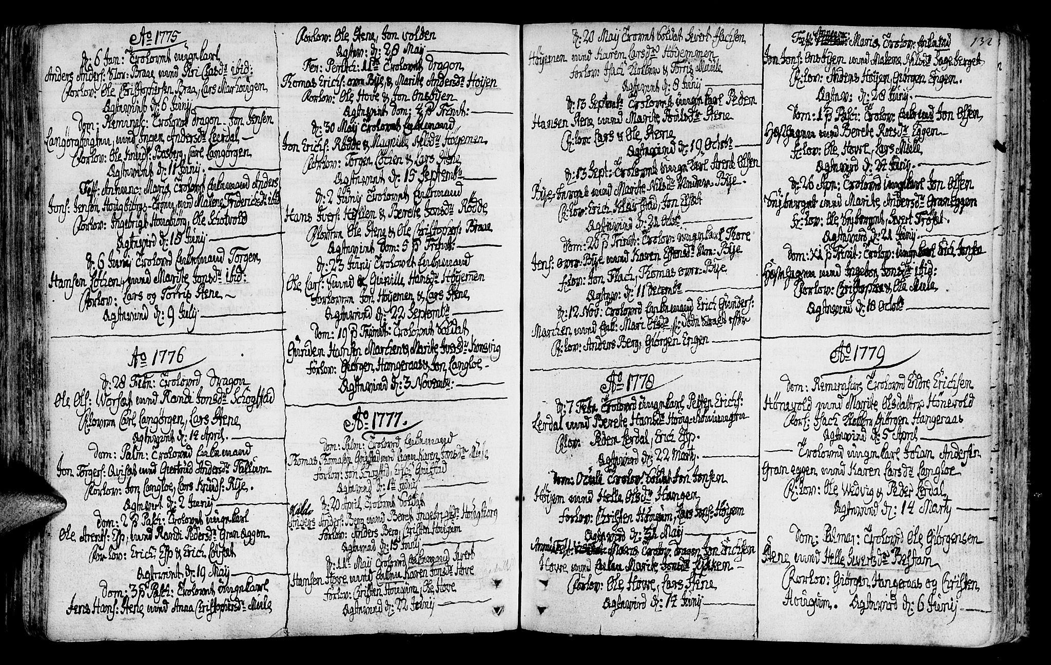 SAT, Ministerialprotokoller, klokkerbøker og fødselsregistre - Sør-Trøndelag, 612/L0370: Ministerialbok nr. 612A04, 1754-1802, s. 132