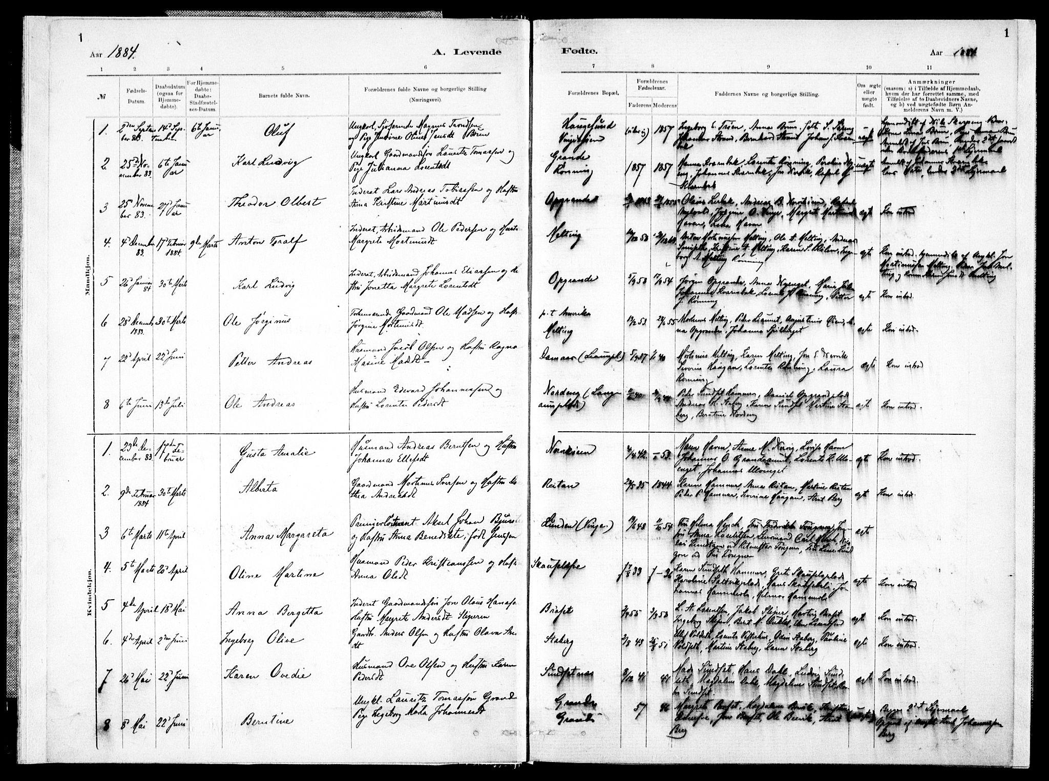 SAT, Ministerialprotokoller, klokkerbøker og fødselsregistre - Nord-Trøndelag, 733/L0325: Ministerialbok nr. 733A04, 1884-1908, s. 1