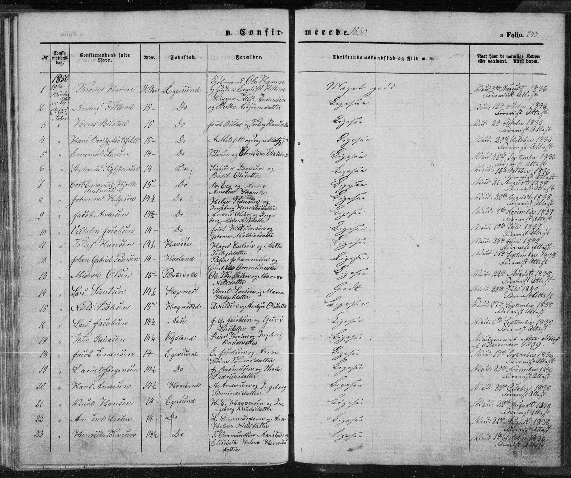 SAST, Egersund sokneprestkontor, Ministerialbok nr. A 12.1, 1850-1865, s. 243