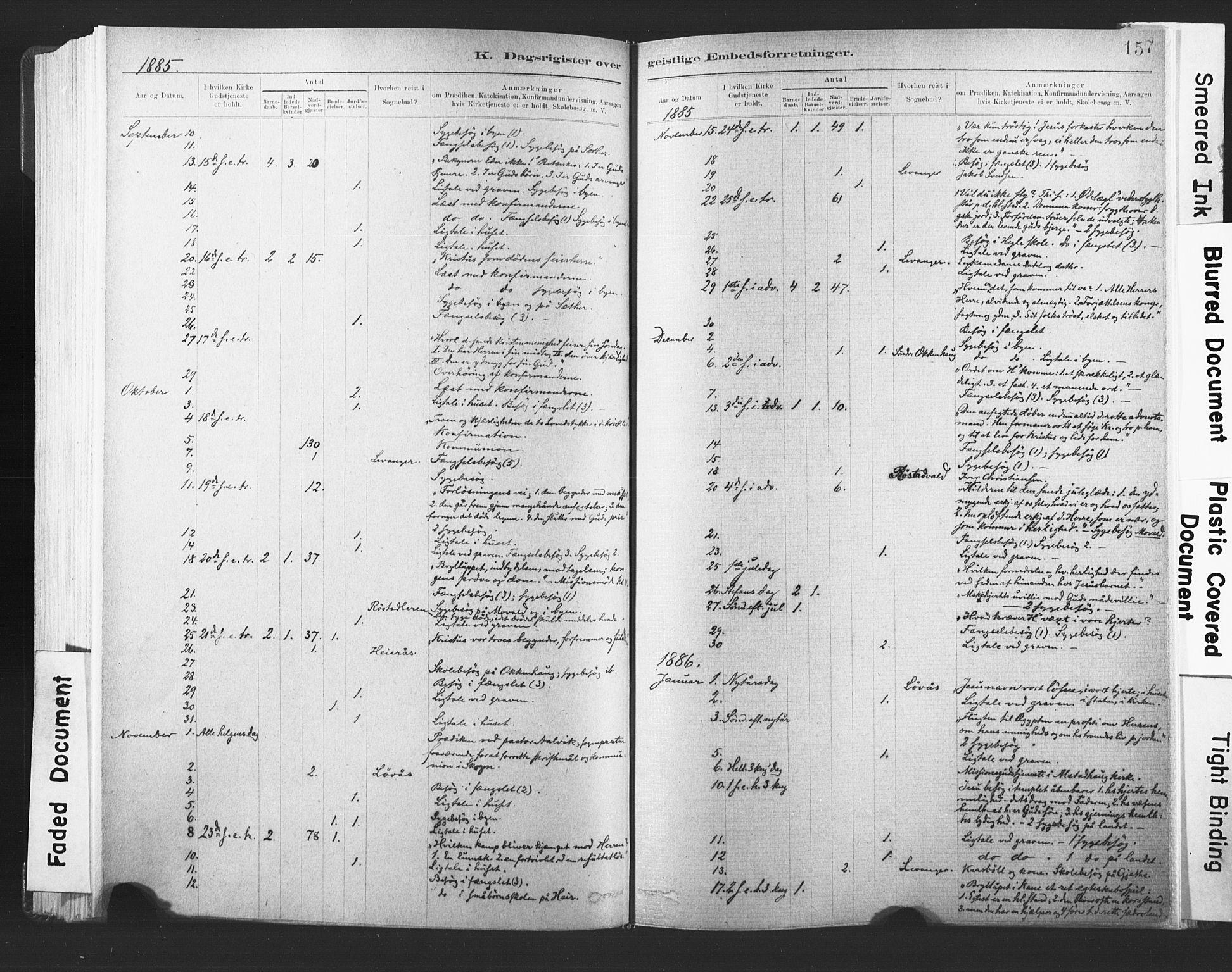 SAT, Ministerialprotokoller, klokkerbøker og fødselsregistre - Nord-Trøndelag, 720/L0189: Ministerialbok nr. 720A05, 1880-1911, s. 157