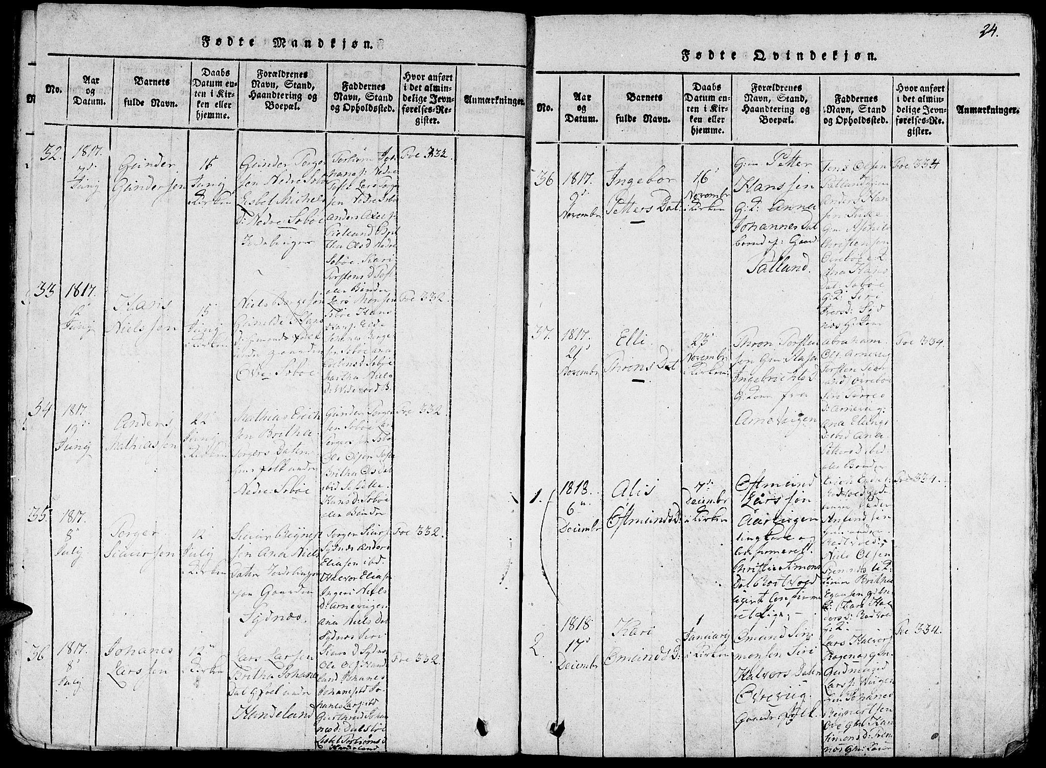 SAB, Fjelberg sokneprestembete, H/Haa: Ministerialbok nr. A 4, 1816-1822, s. 24