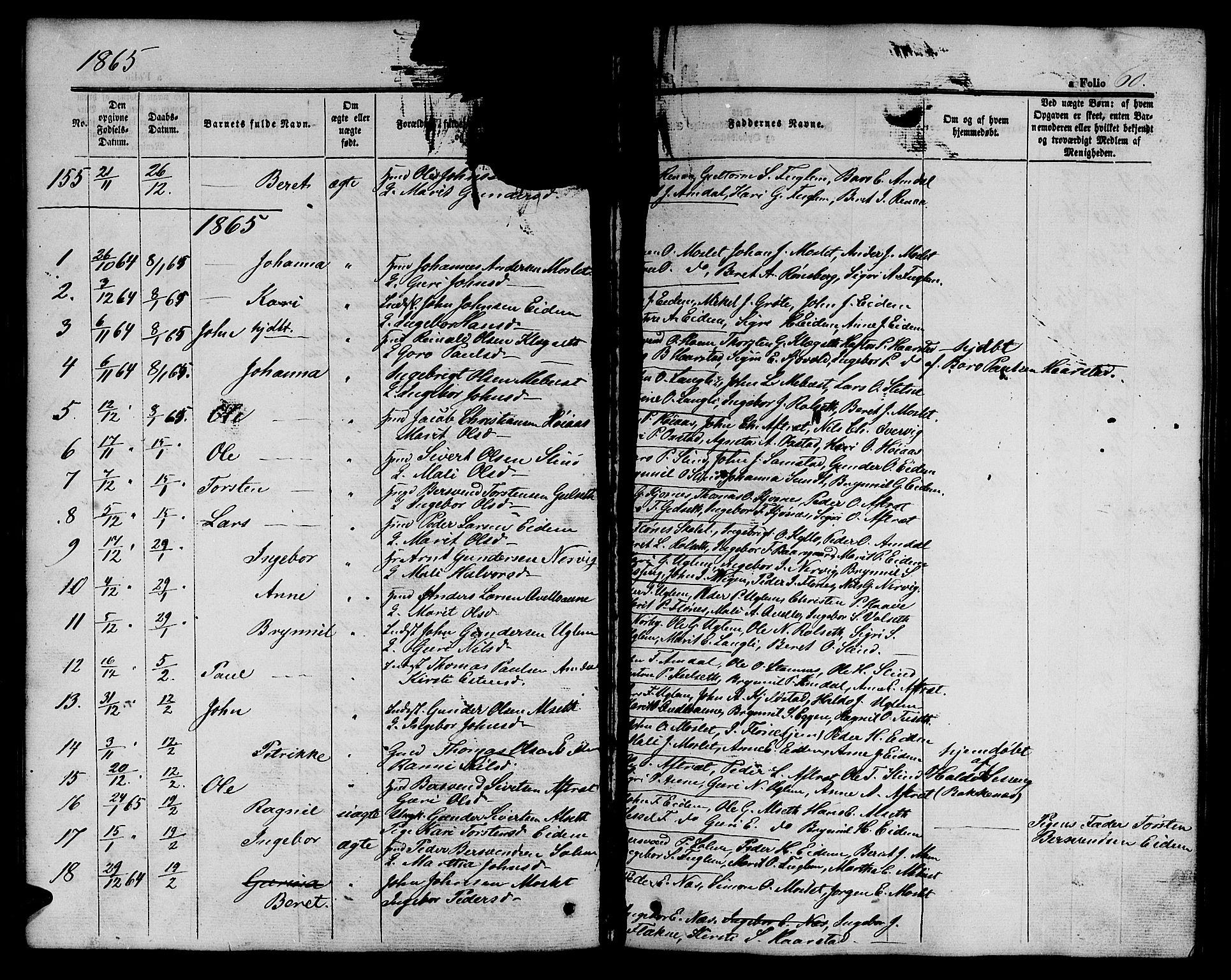 SAT, Ministerialprotokoller, klokkerbøker og fødselsregistre - Sør-Trøndelag, 695/L1155: Klokkerbok nr. 695C06, 1859-1868, s. 60