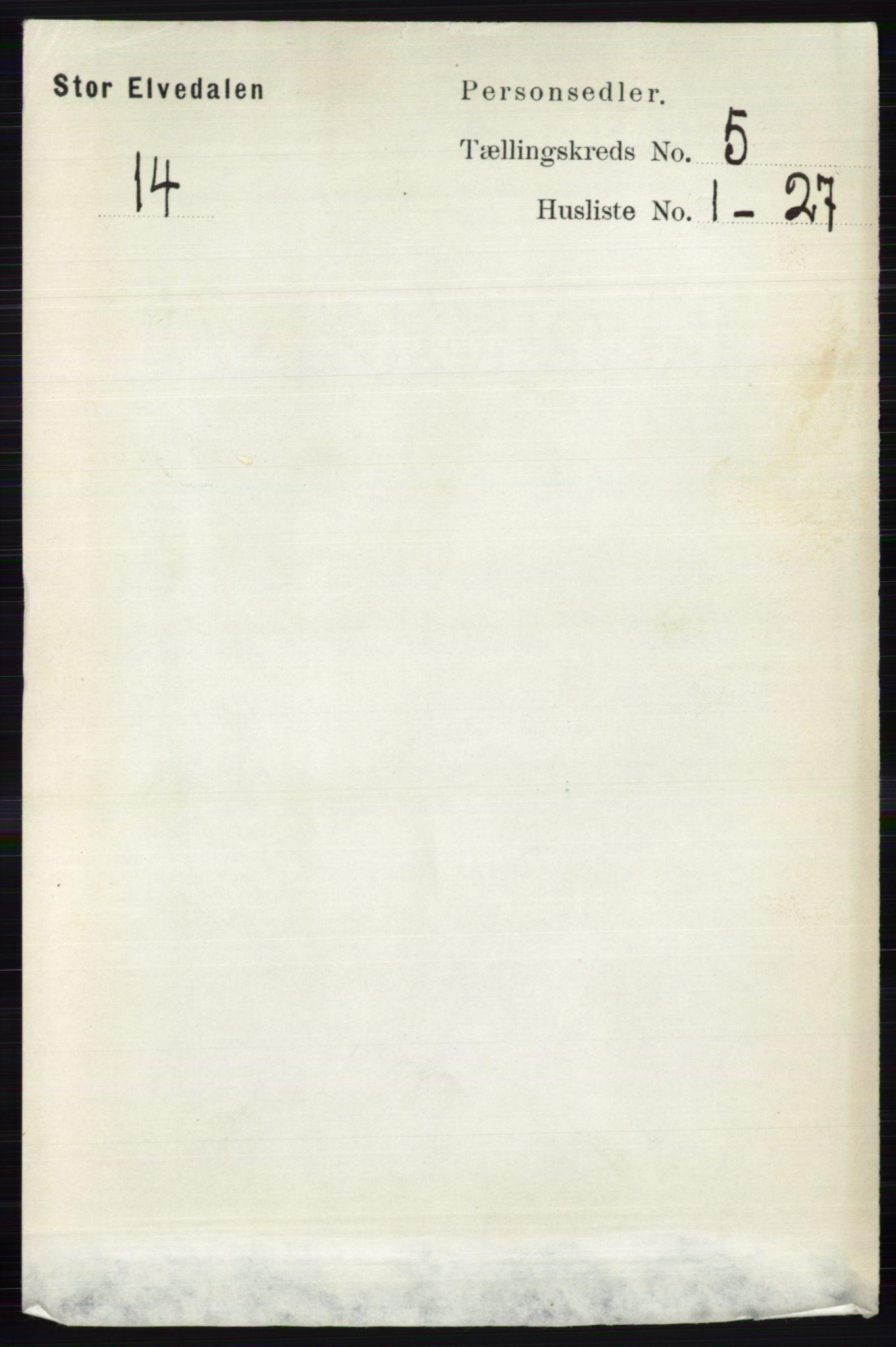 RA, Folketelling 1891 for 0430 Stor-Elvdal herred, 1891, s. 1713