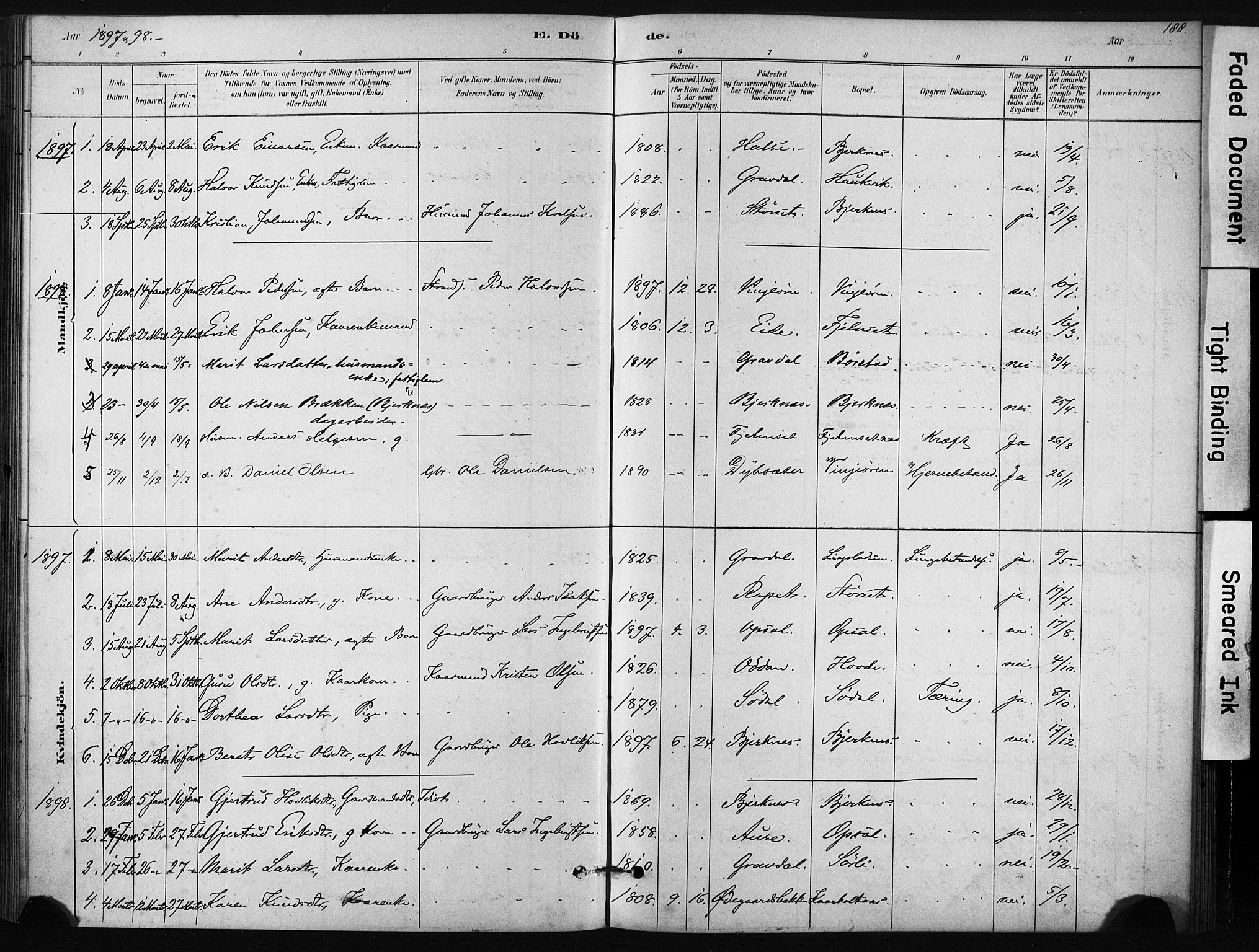 SAT, Ministerialprotokoller, klokkerbøker og fødselsregistre - Sør-Trøndelag, 631/L0512: Ministerialbok nr. 631A01, 1879-1912, s. 188