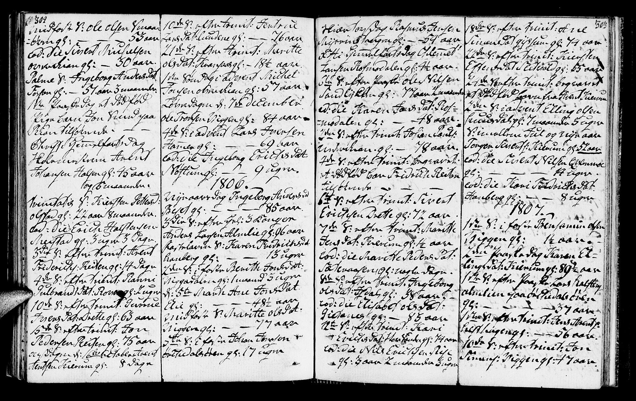 SAT, Ministerialprotokoller, klokkerbøker og fødselsregistre - Sør-Trøndelag, 665/L0769: Ministerialbok nr. 665A04, 1803-1816, s. 302-303