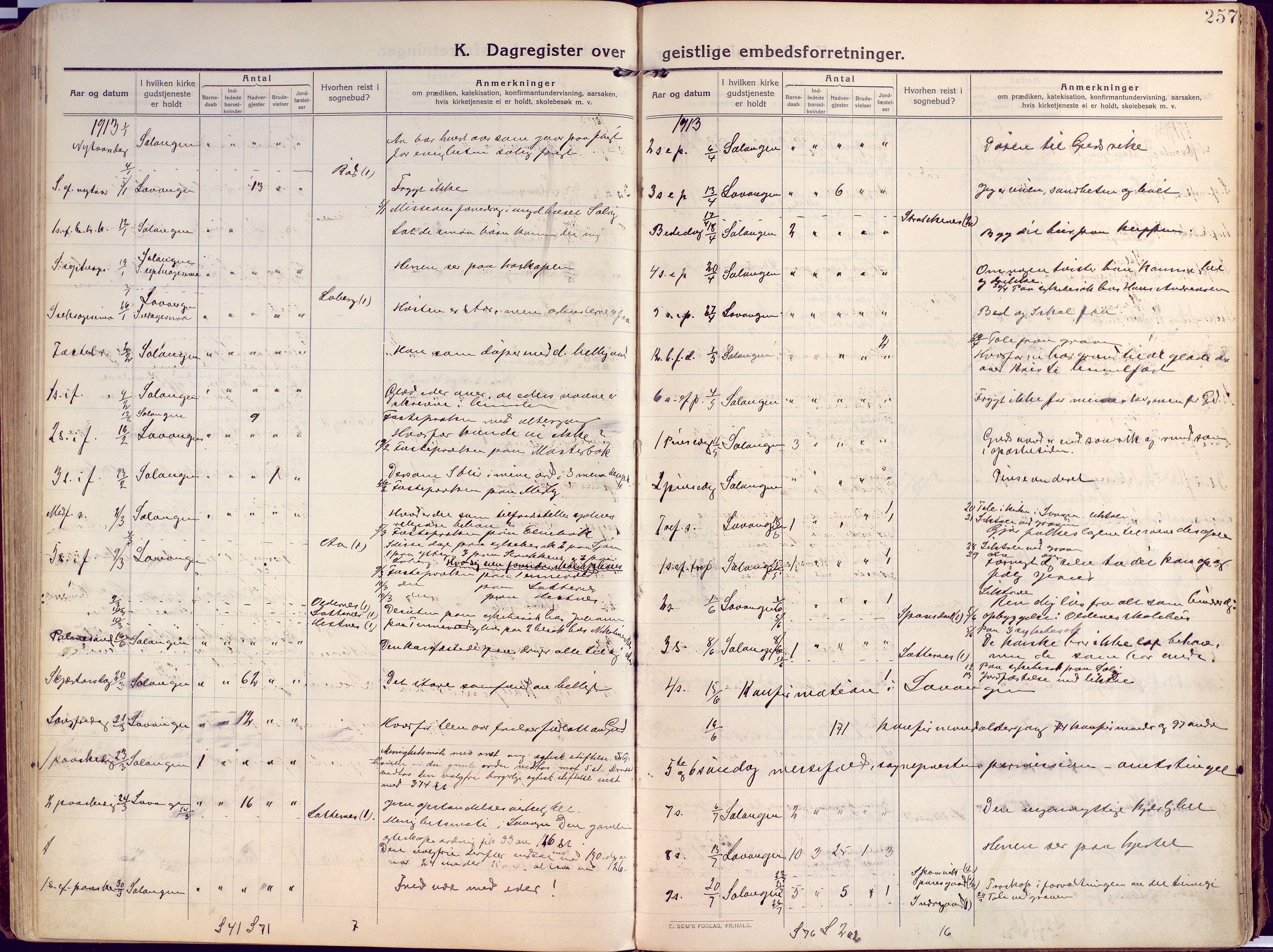 SATØ, Salangen sokneprestembete, Ministerialbok nr. 4, 1912-1927, s. 257
