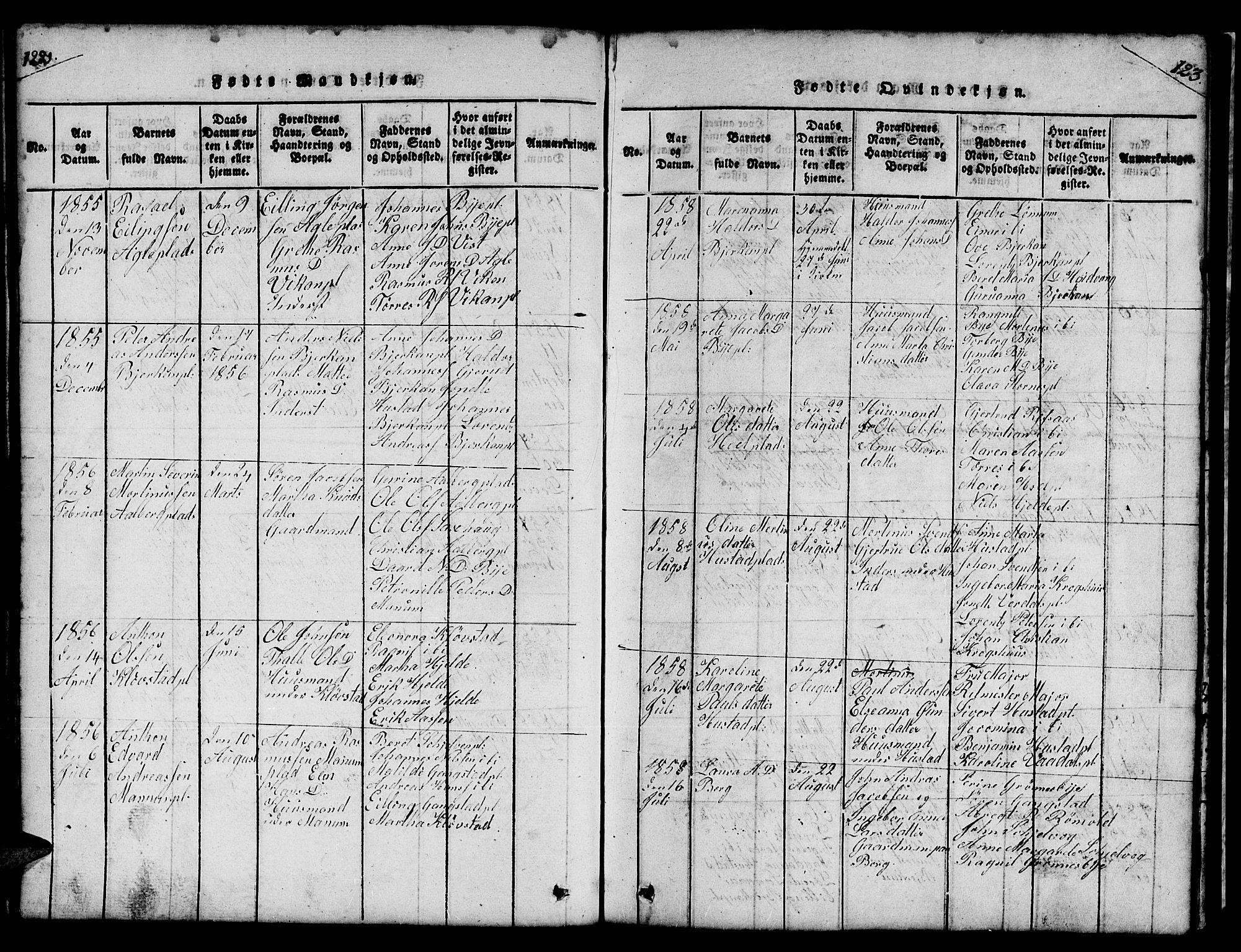 SAT, Ministerialprotokoller, klokkerbøker og fødselsregistre - Nord-Trøndelag, 732/L0317: Klokkerbok nr. 732C01, 1816-1881, s. 122-123