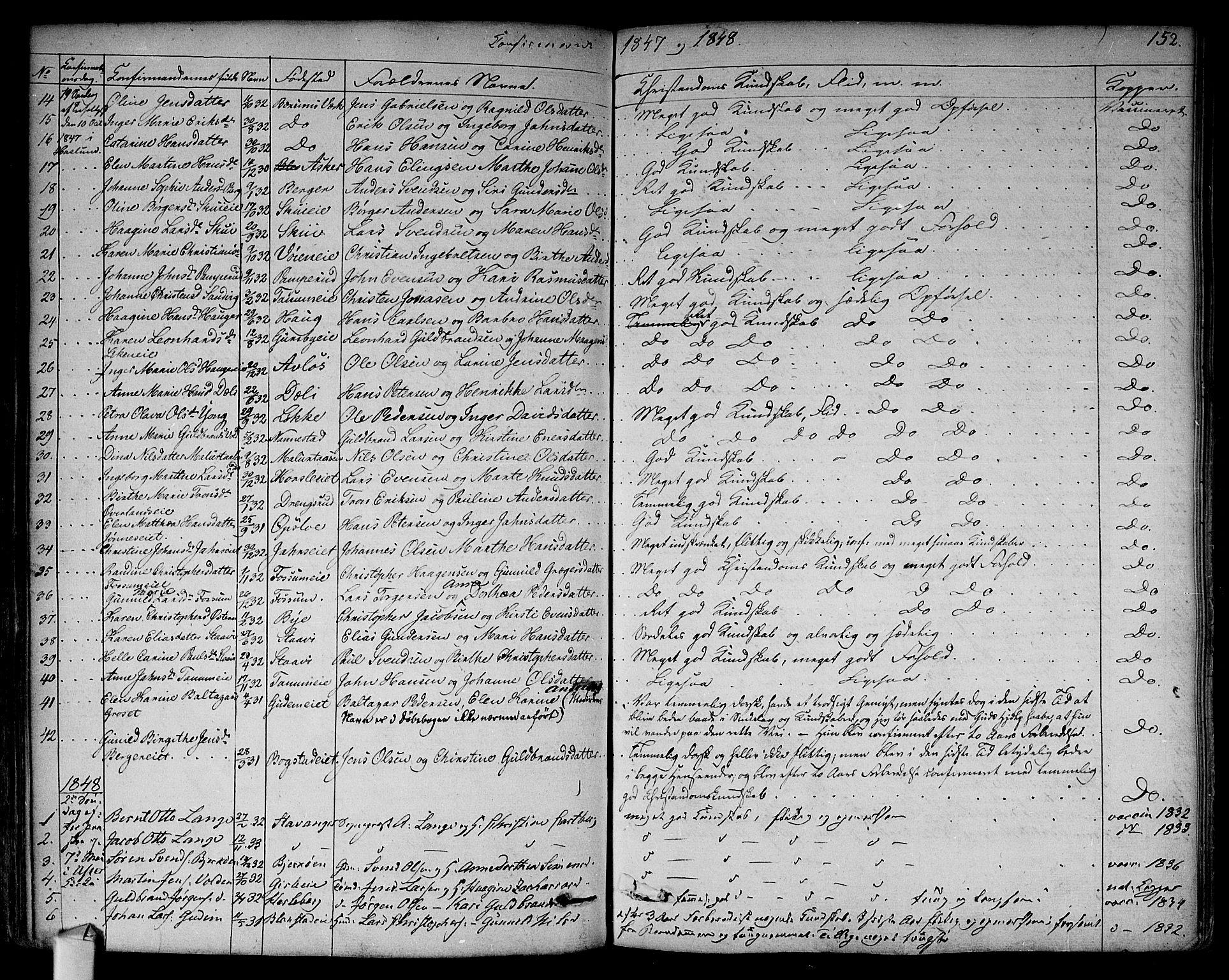 SAO, Asker prestekontor Kirkebøker, F/Fa/L0009: Ministerialbok nr. I 9, 1825-1878, s. 152
