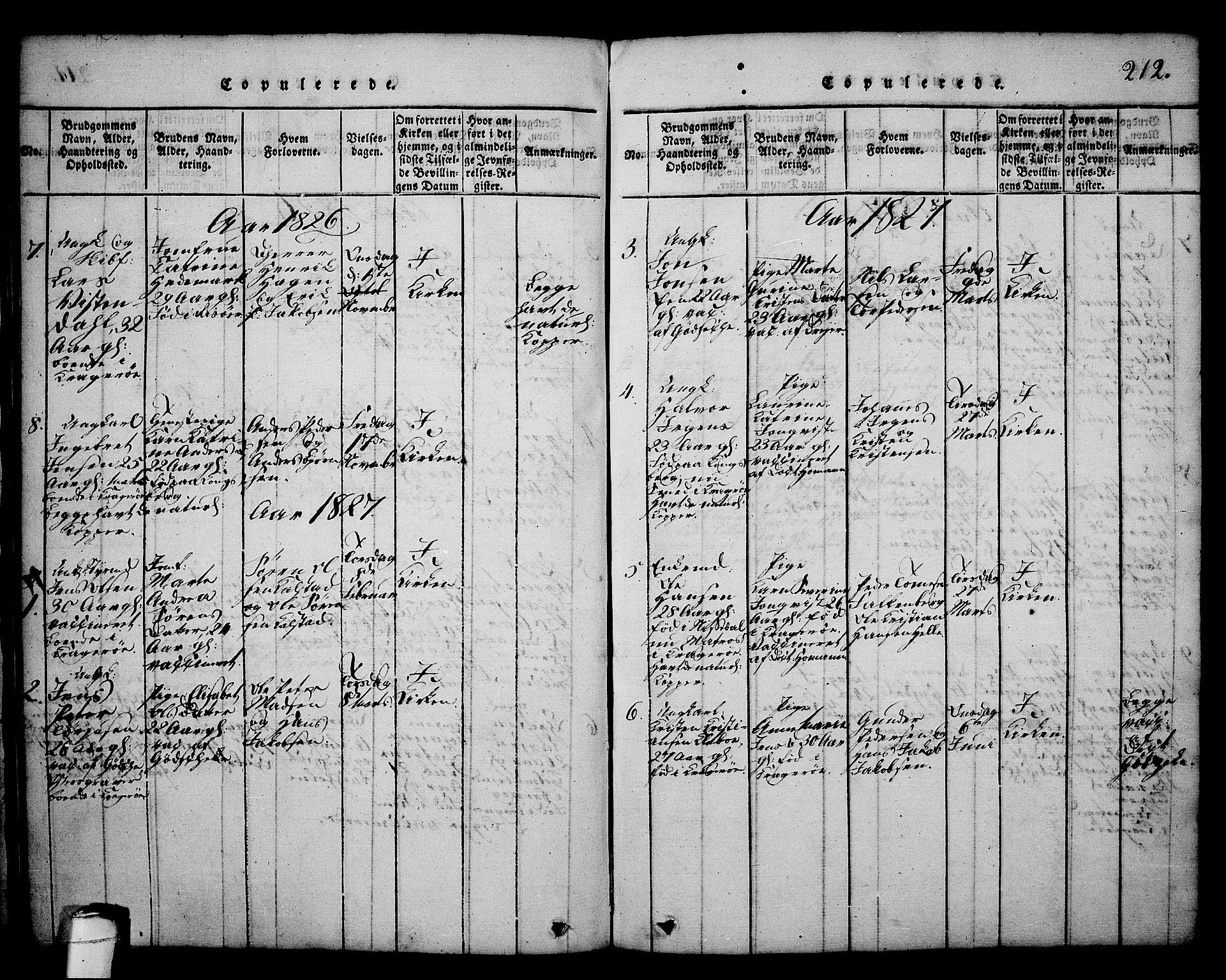 SAKO, Kragerø kirkebøker, G/Ga/L0002: Klokkerbok nr. 2, 1814-1831, s. 212