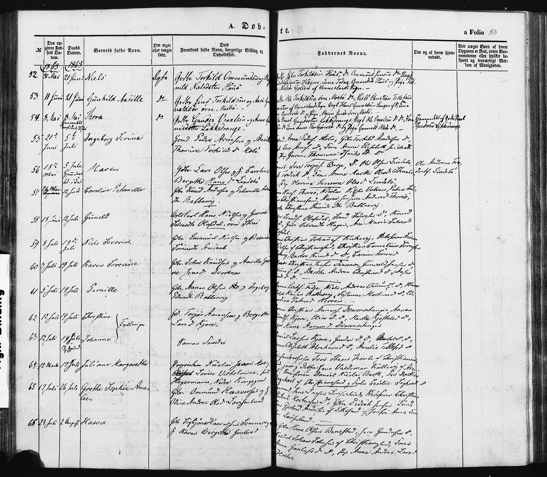 SAK, Oddernes sokneprestkontor, F/Fa/Faa/L0007: Ministerialbok nr. A 7, 1851-1863, s. 88