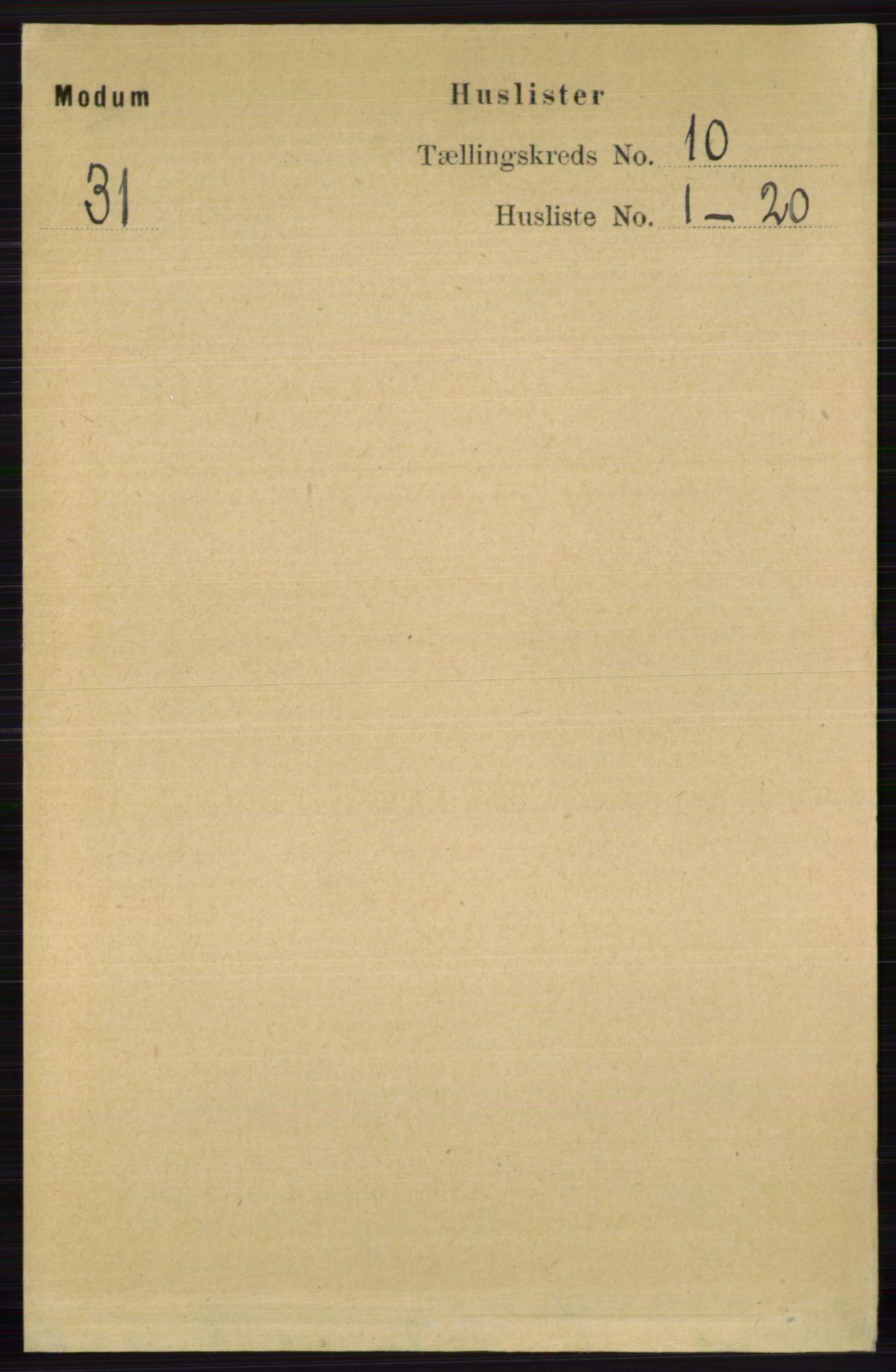RA, Folketelling 1891 for 0623 Modum herred, 1891, s. 3948