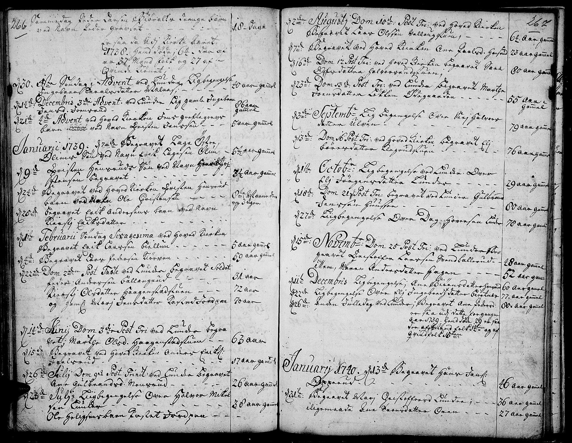 SAH, Jevnaker prestekontor, Ministerialbok nr. 2, 1725-1751, s. 266-267