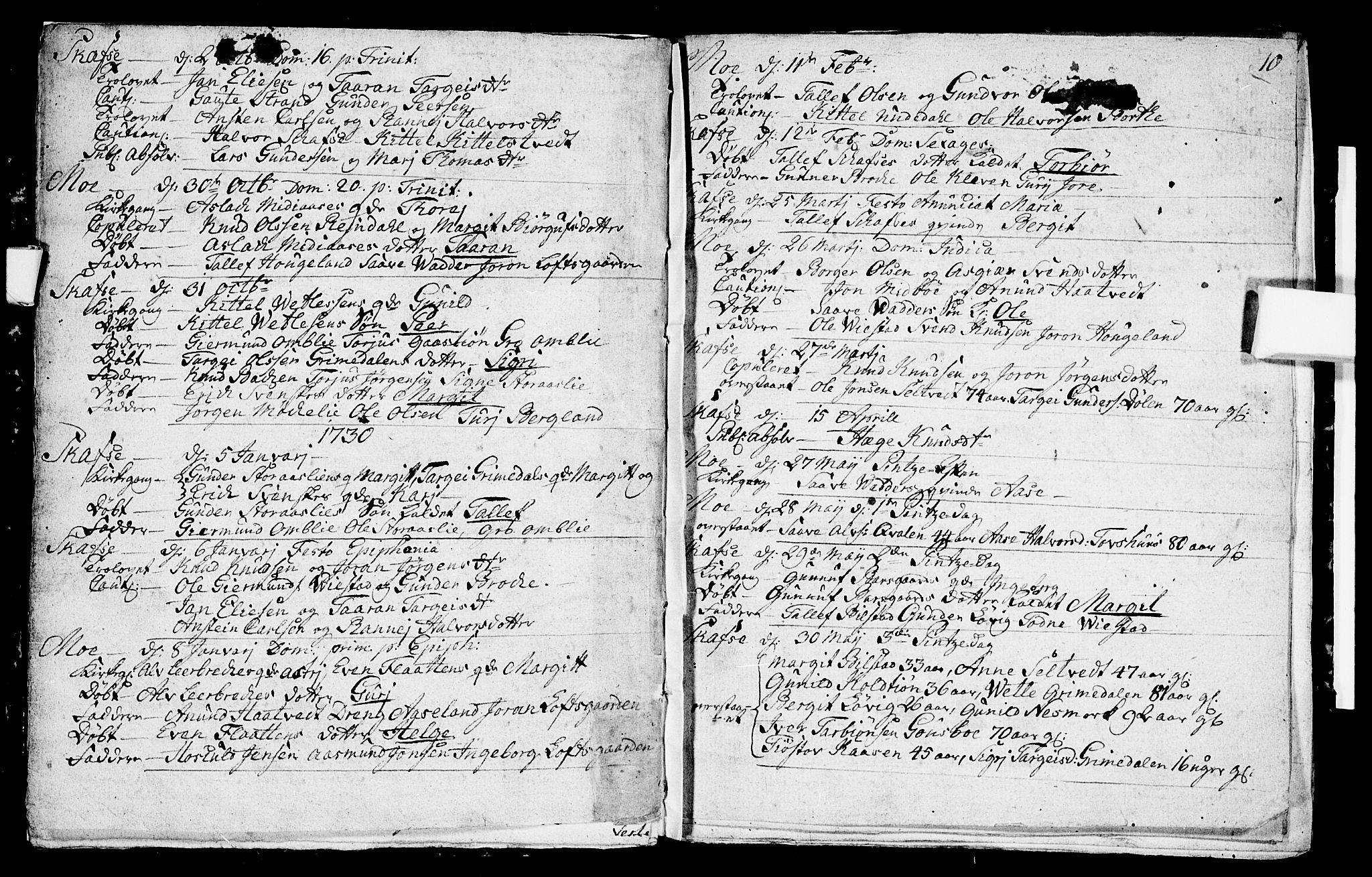 SAKO, Mo kirkebøker, F/Fa/L0001: Ministerialbok nr. I 1, 1724-1748, s. 10