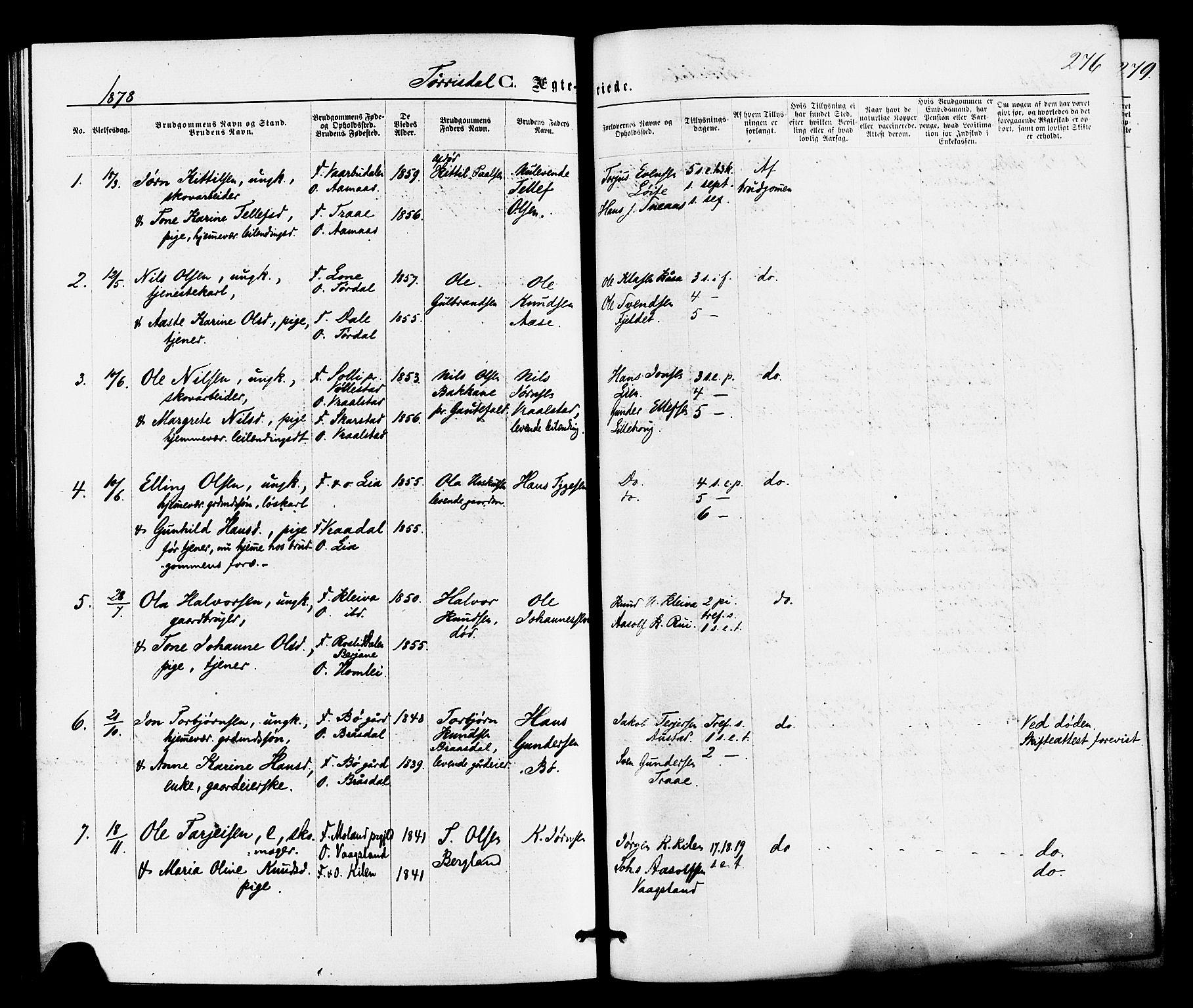SAKO, Drangedal kirkebøker, F/Fa/L0009: Ministerialbok nr. 9 /2, 1872-1884, s. 276