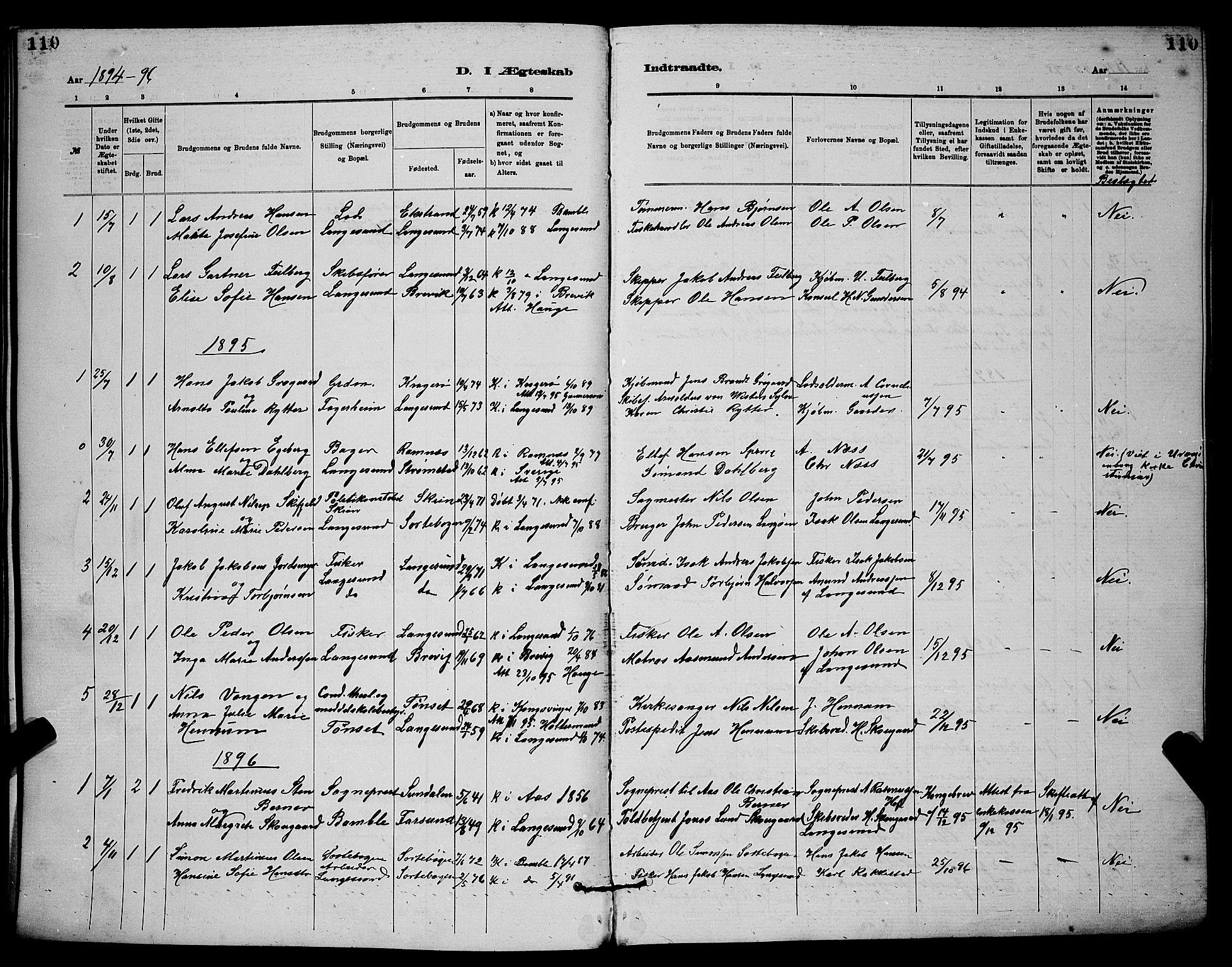 SAKO, Langesund kirkebøker, G/Ga/L0005: Klokkerbok nr. 5, 1884-1898, s. 110