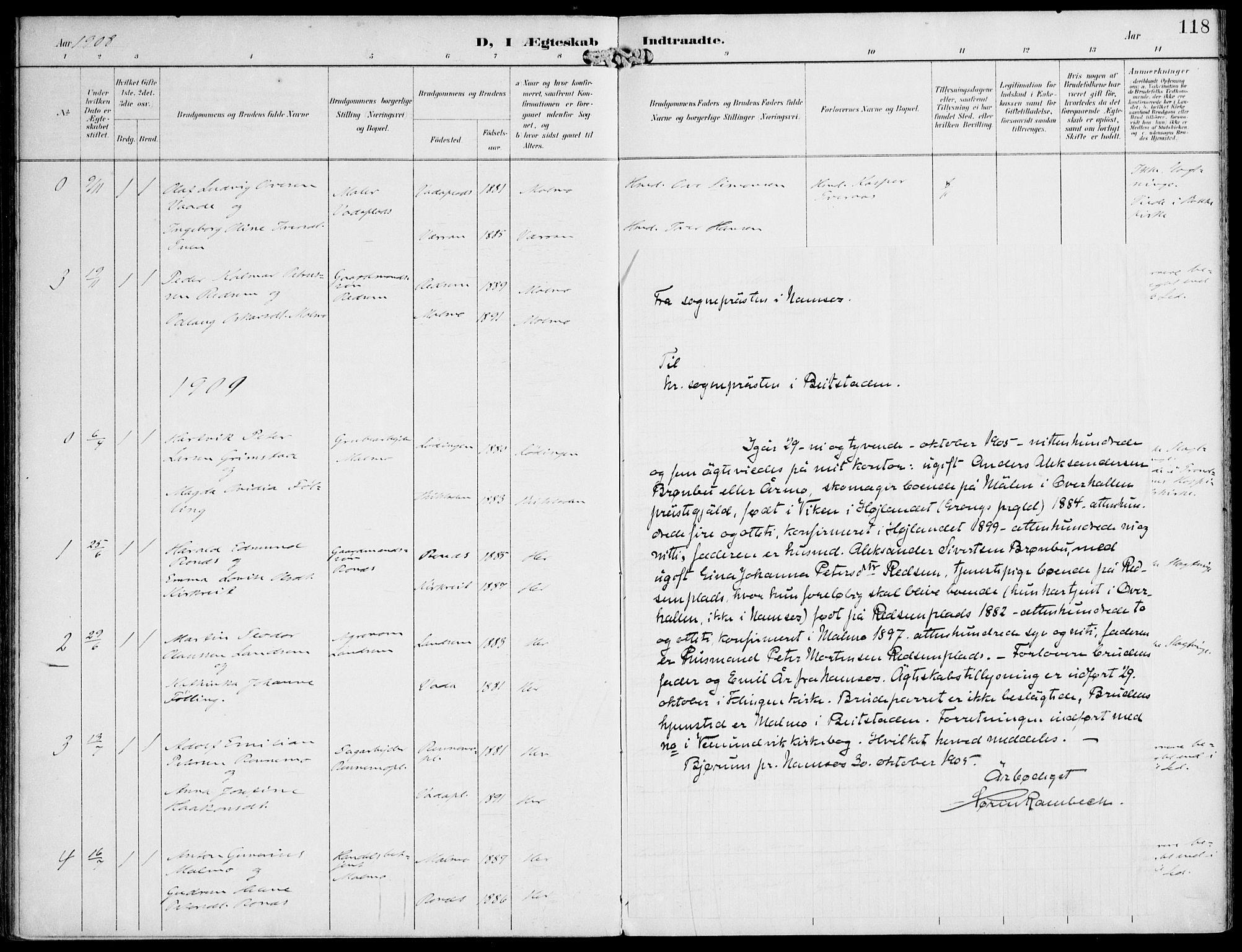 SAT, Ministerialprotokoller, klokkerbøker og fødselsregistre - Nord-Trøndelag, 745/L0430: Ministerialbok nr. 745A02, 1895-1913, s. 118