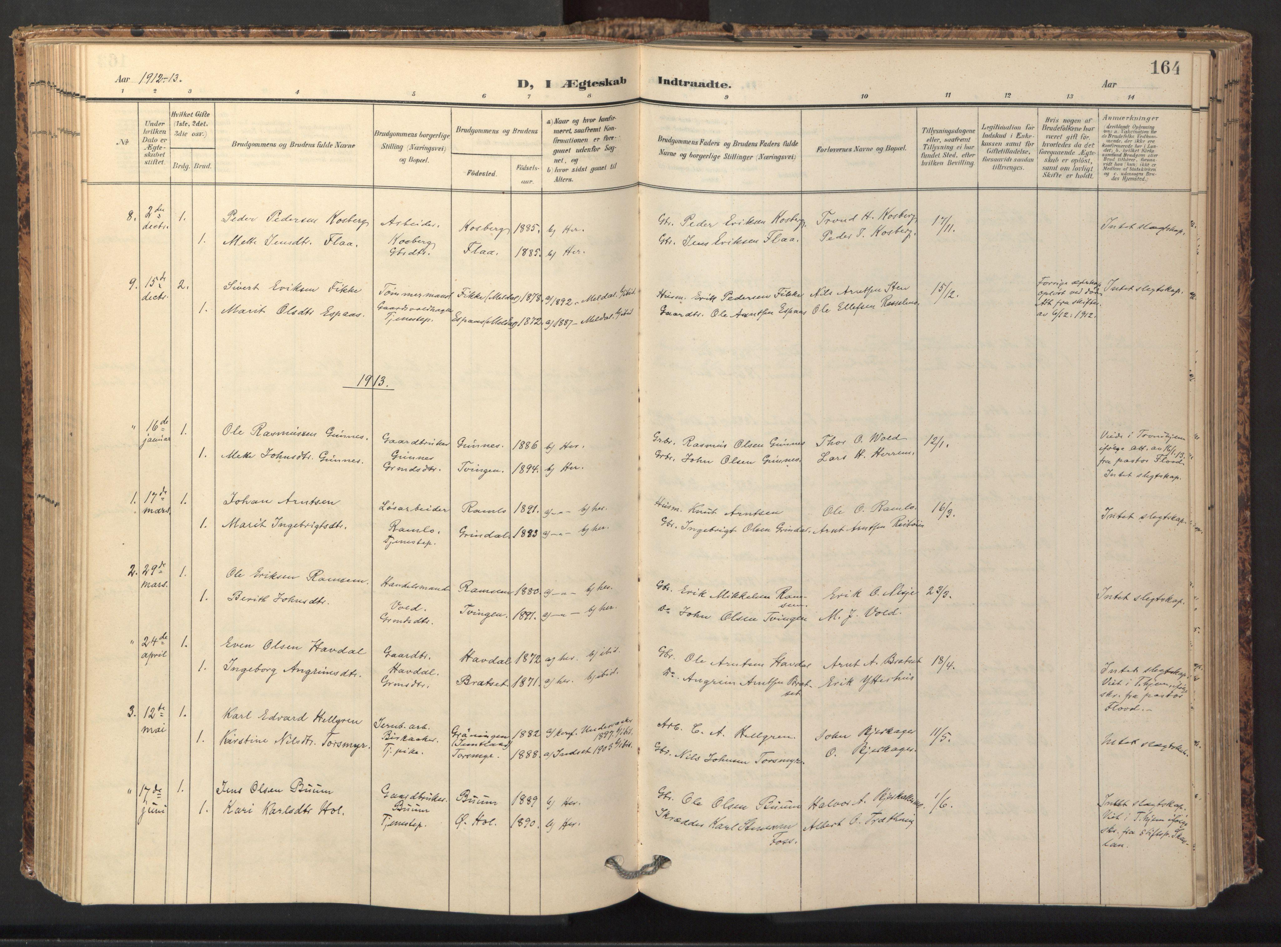 SAT, Ministerialprotokoller, klokkerbøker og fødselsregistre - Sør-Trøndelag, 674/L0873: Ministerialbok nr. 674A05, 1908-1923, s. 164