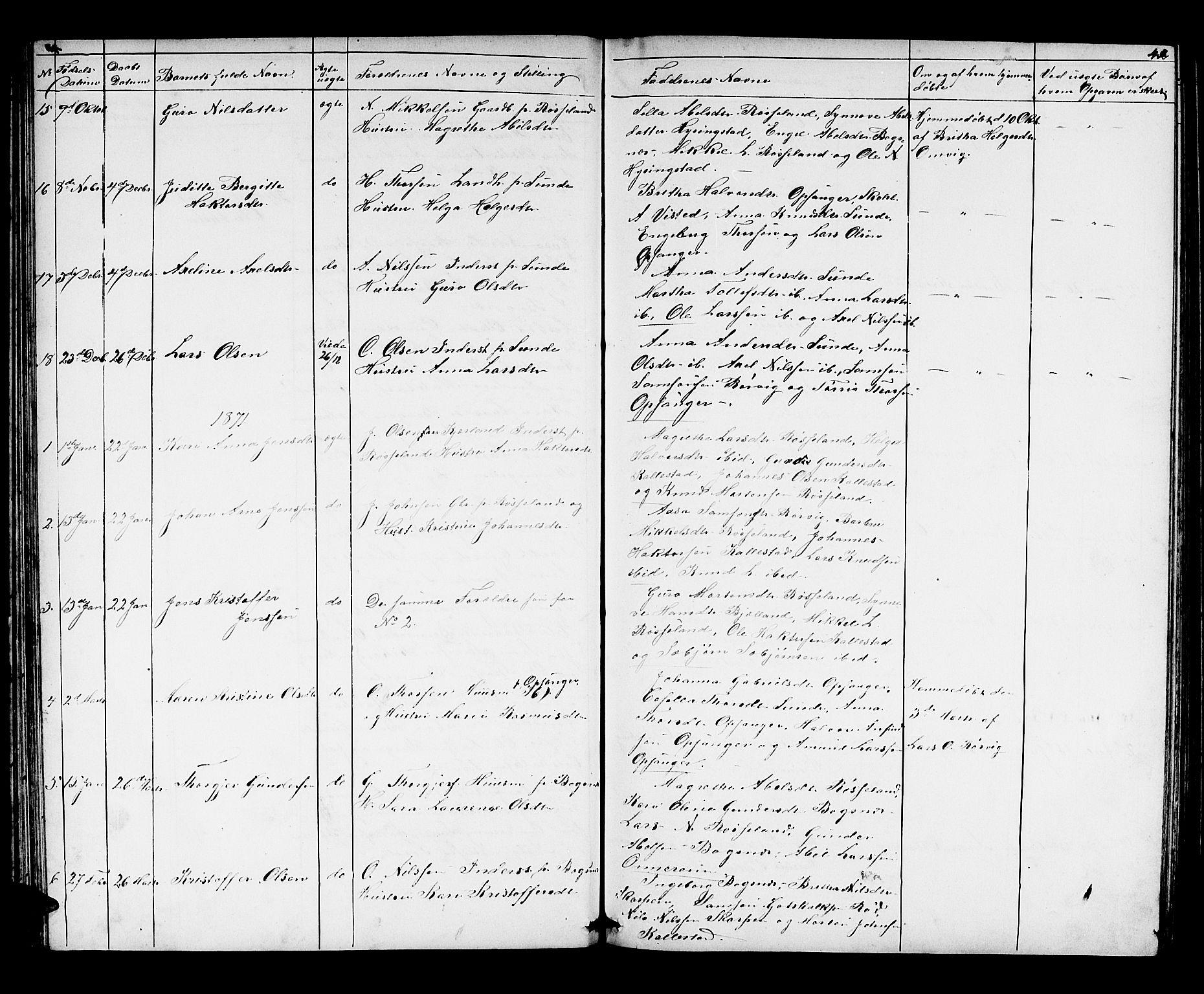 SAB, Husnes Sokneprestembete, H/Hab: Klokkerbok nr. A 1, 1856-1880, s. 42