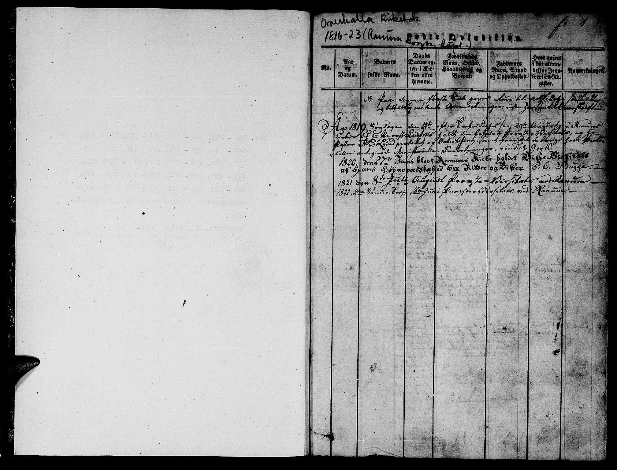 SAT, Ministerialprotokoller, klokkerbøker og fødselsregistre - Nord-Trøndelag, 764/L0546: Ministerialbok nr. 764A06 /1, 1816-1823, s. 1