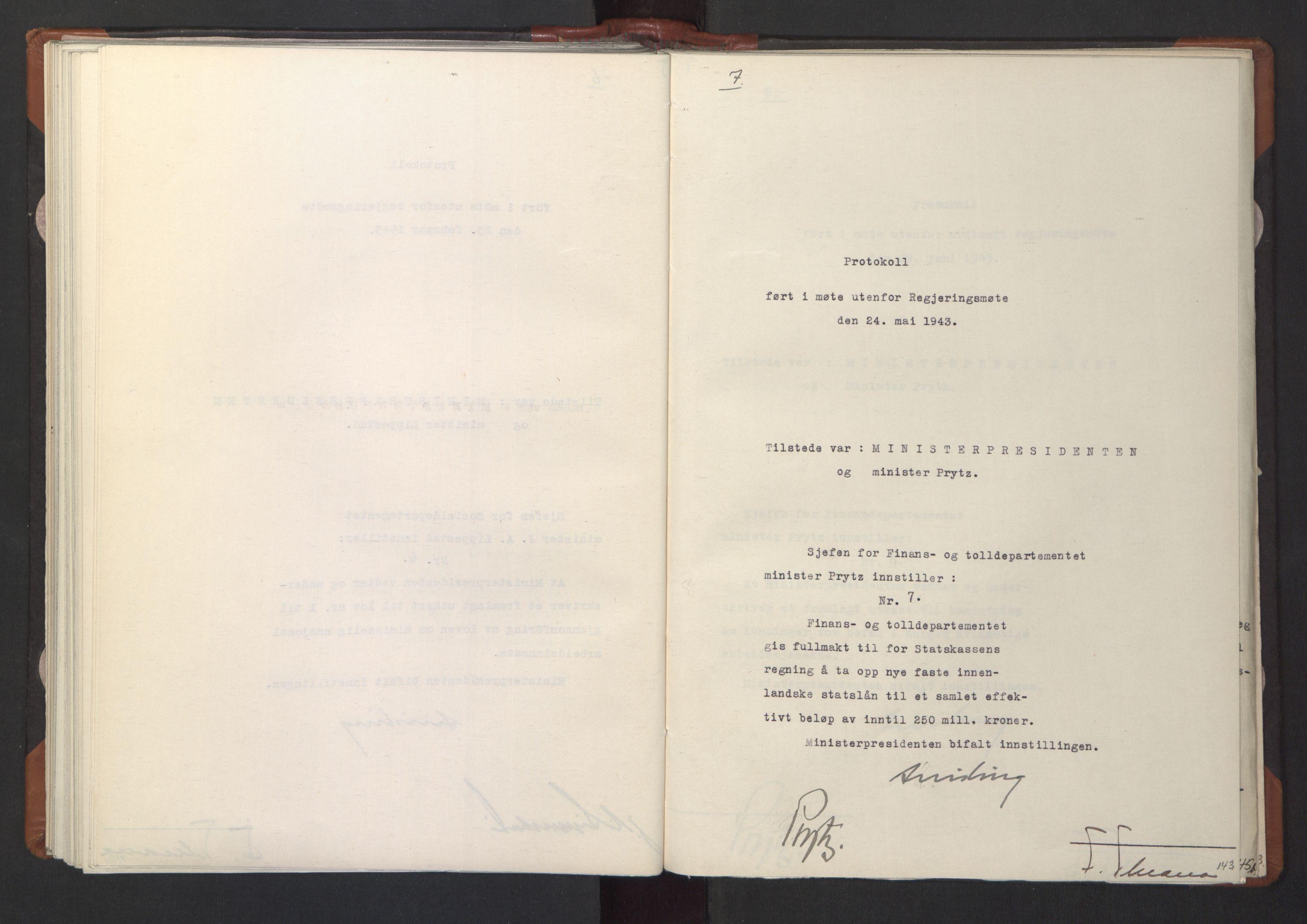 RA, NS-administrasjonen 1940-1945 (Statsrådsekretariatet, de kommisariske statsråder mm), D/Da/L0003: Vedtak (Beslutninger) nr. 1-746 og tillegg nr. 1-47 (RA. j.nr. 1394/1944, tilgangsnr. 8/1944, 1943, s. 142b-143a