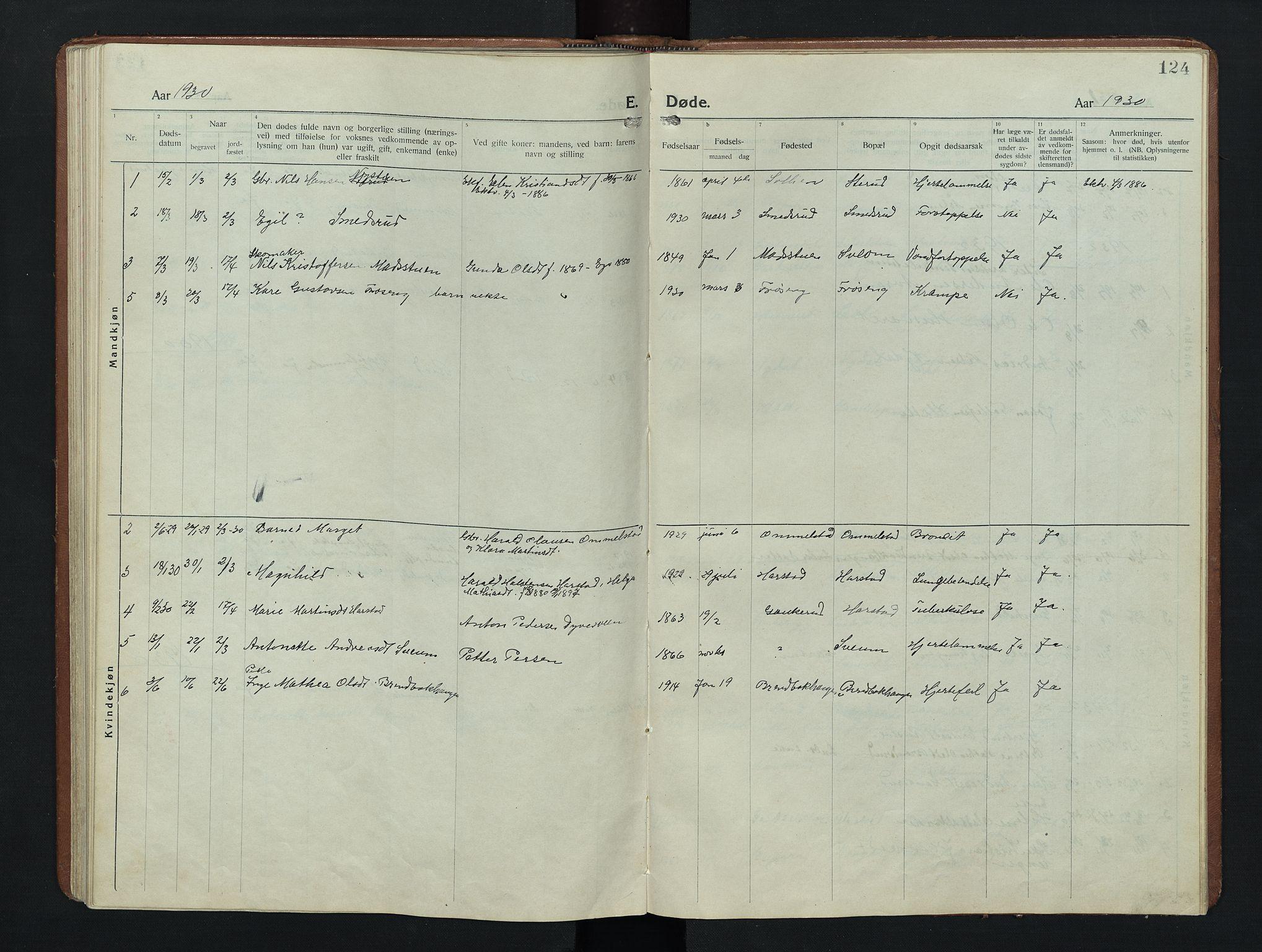 SAH, Nordre Land prestekontor, Klokkerbok nr. 9, 1921-1956, s. 124