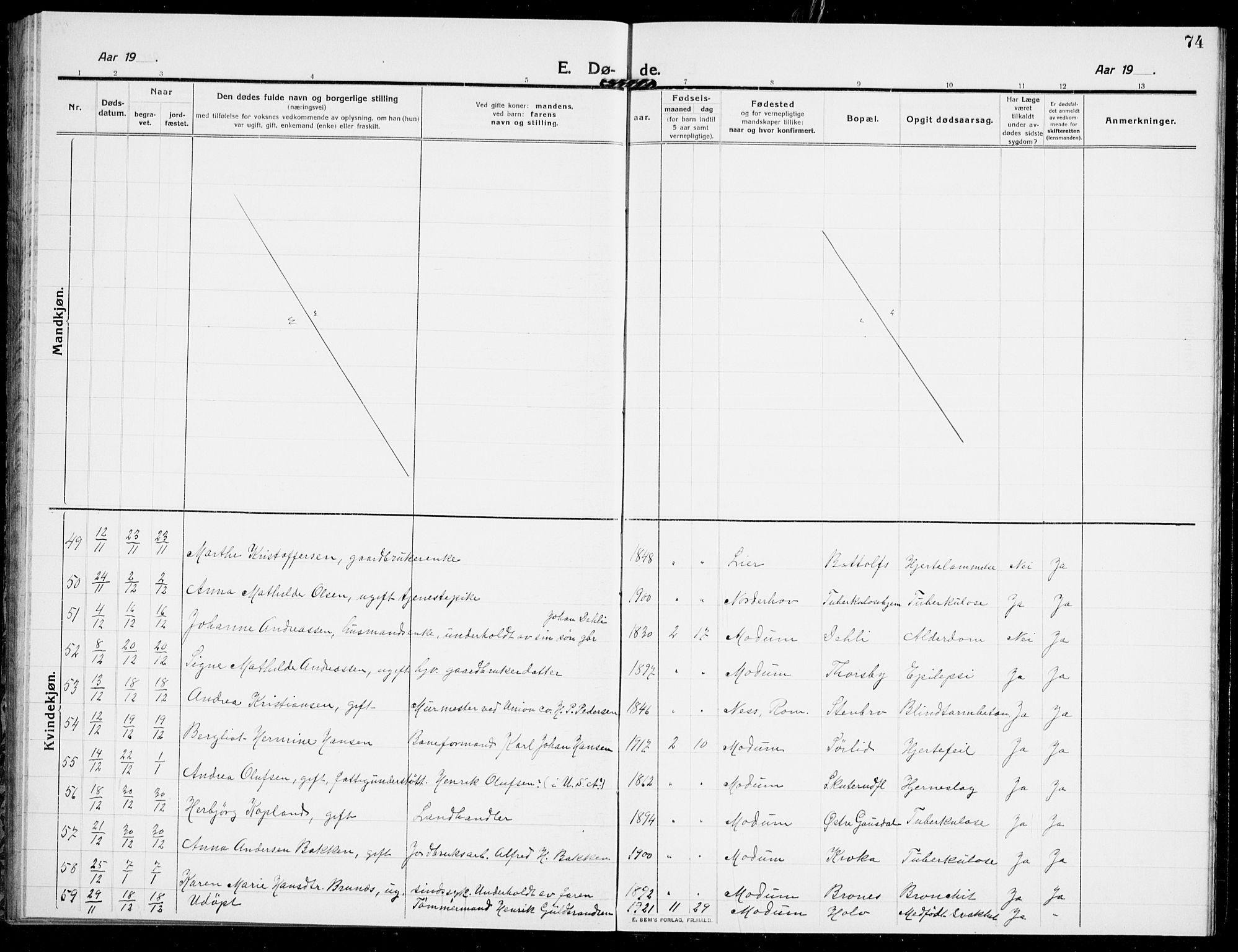 SAKO, Modum kirkebøker, G/Ga/L0011: Klokkerbok nr. I 11, 1910-1925, s. 74