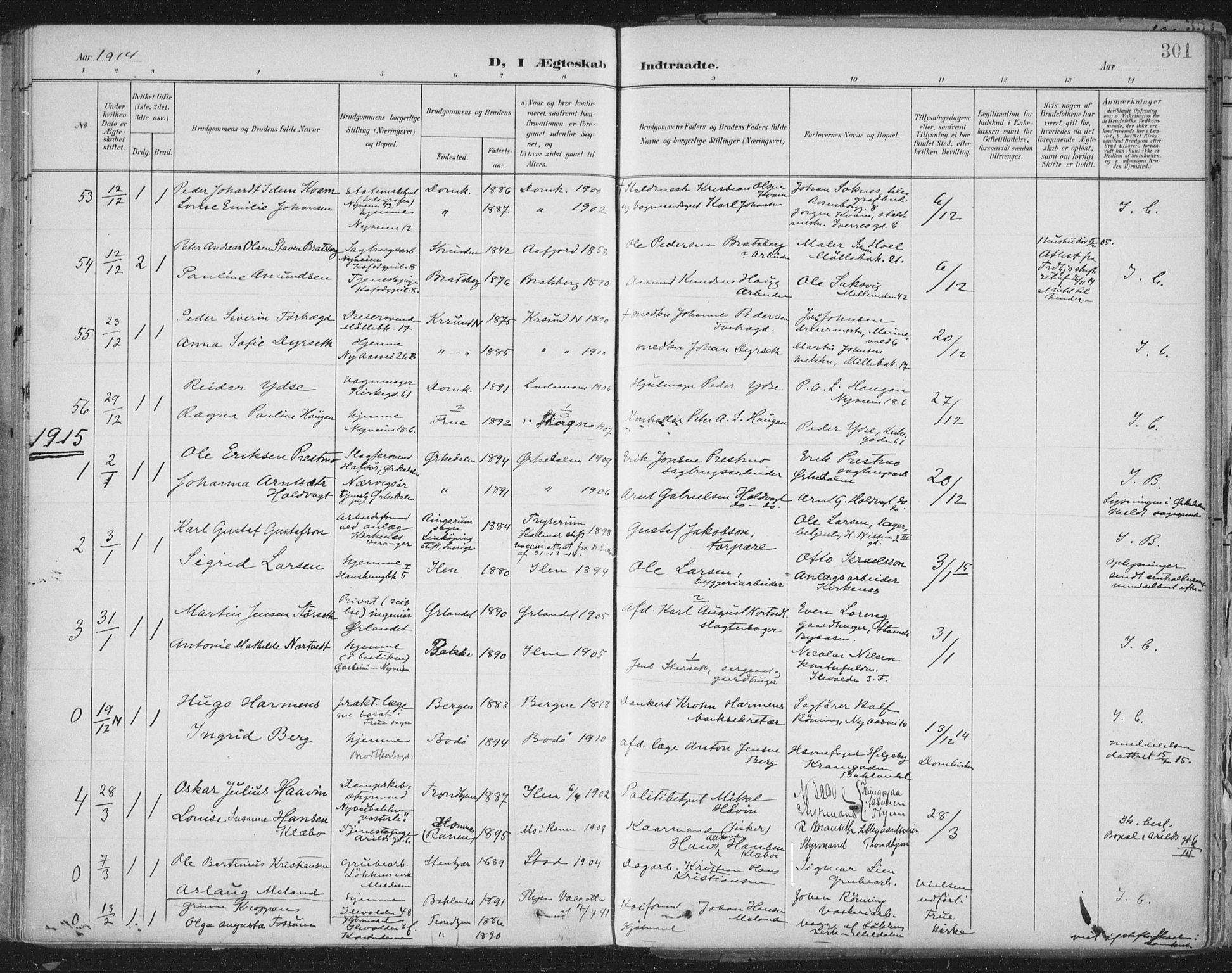 SAT, Ministerialprotokoller, klokkerbøker og fødselsregistre - Sør-Trøndelag, 603/L0167: Ministerialbok nr. 603A06, 1896-1932, s. 301