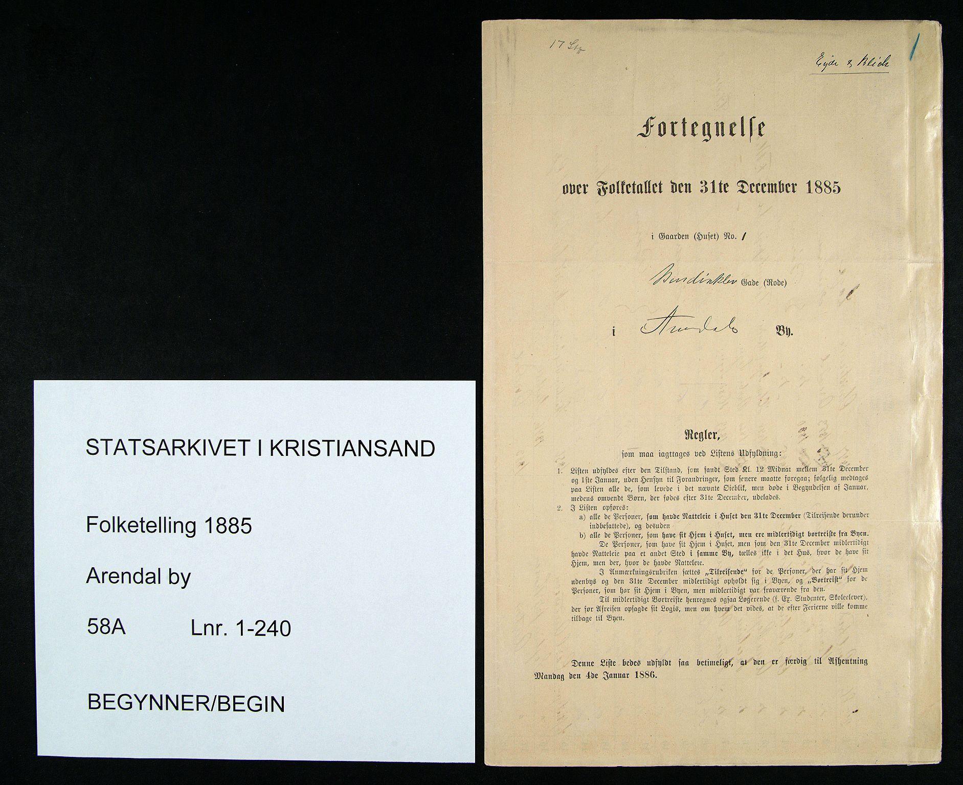 SAK, Folketelling 1885 for 0903 Arendal kjøpstad, 1885, s. 1