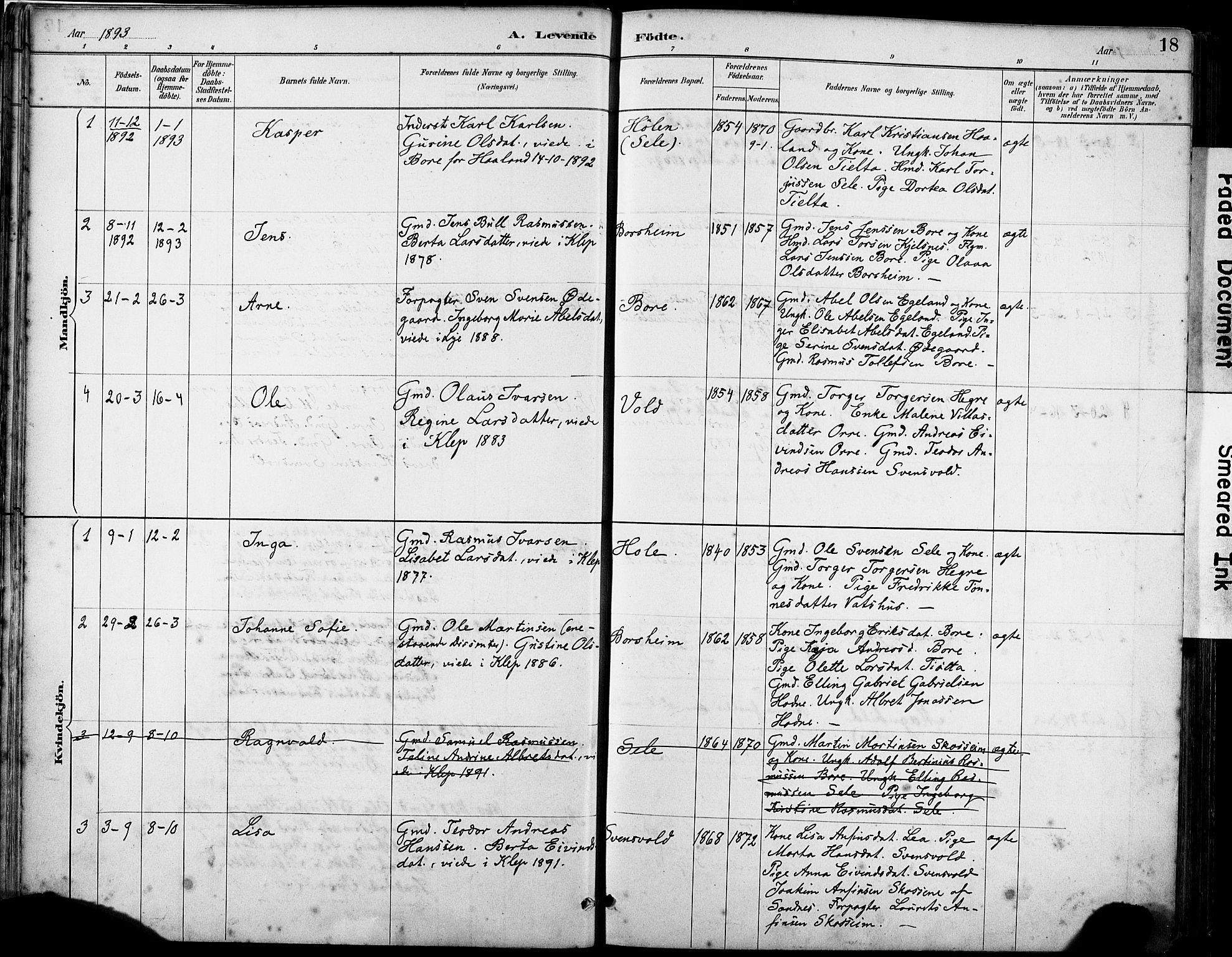 SAST, Klepp sokneprestkontor, 30BA/L0008: Ministerialbok nr. A 9, 1886-1919, s. 18