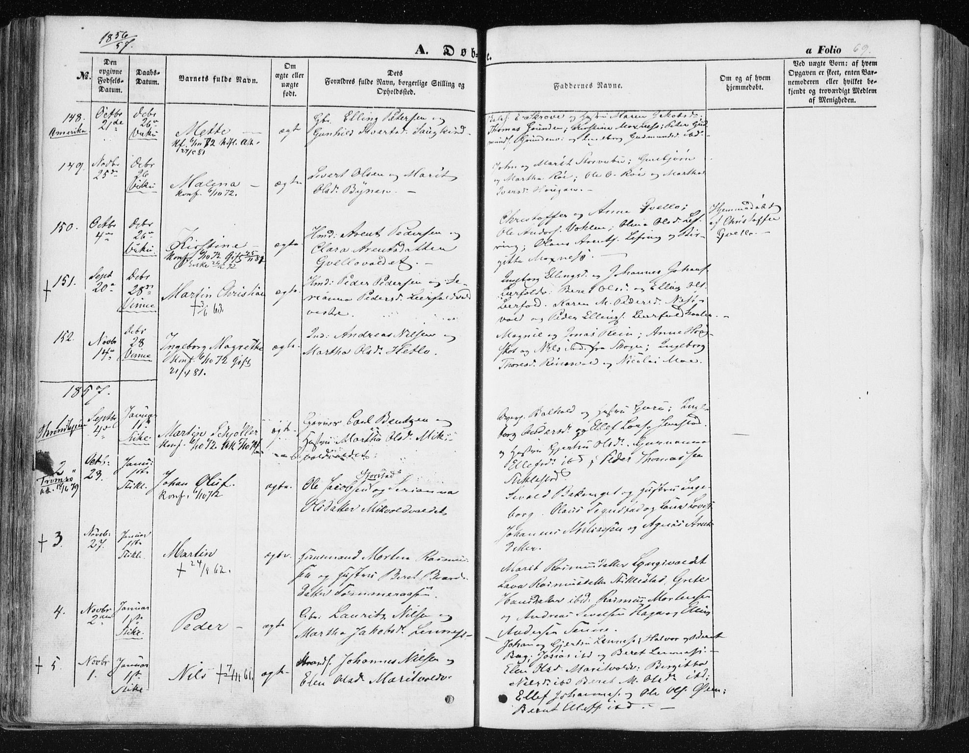SAT, Ministerialprotokoller, klokkerbøker og fødselsregistre - Nord-Trøndelag, 723/L0240: Ministerialbok nr. 723A09, 1852-1860, s. 69