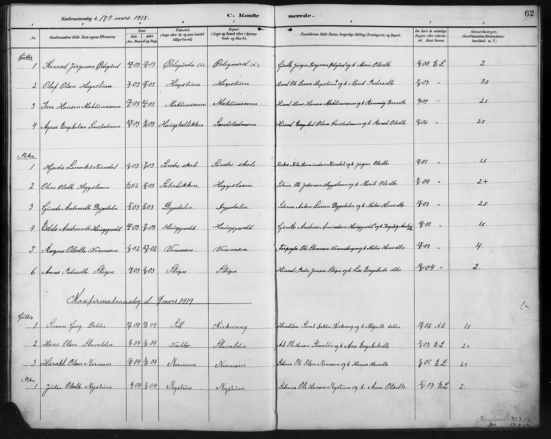 SAH, Ringebu prestekontor, Klokkerbok nr. 8, 1890-1922, s. 62