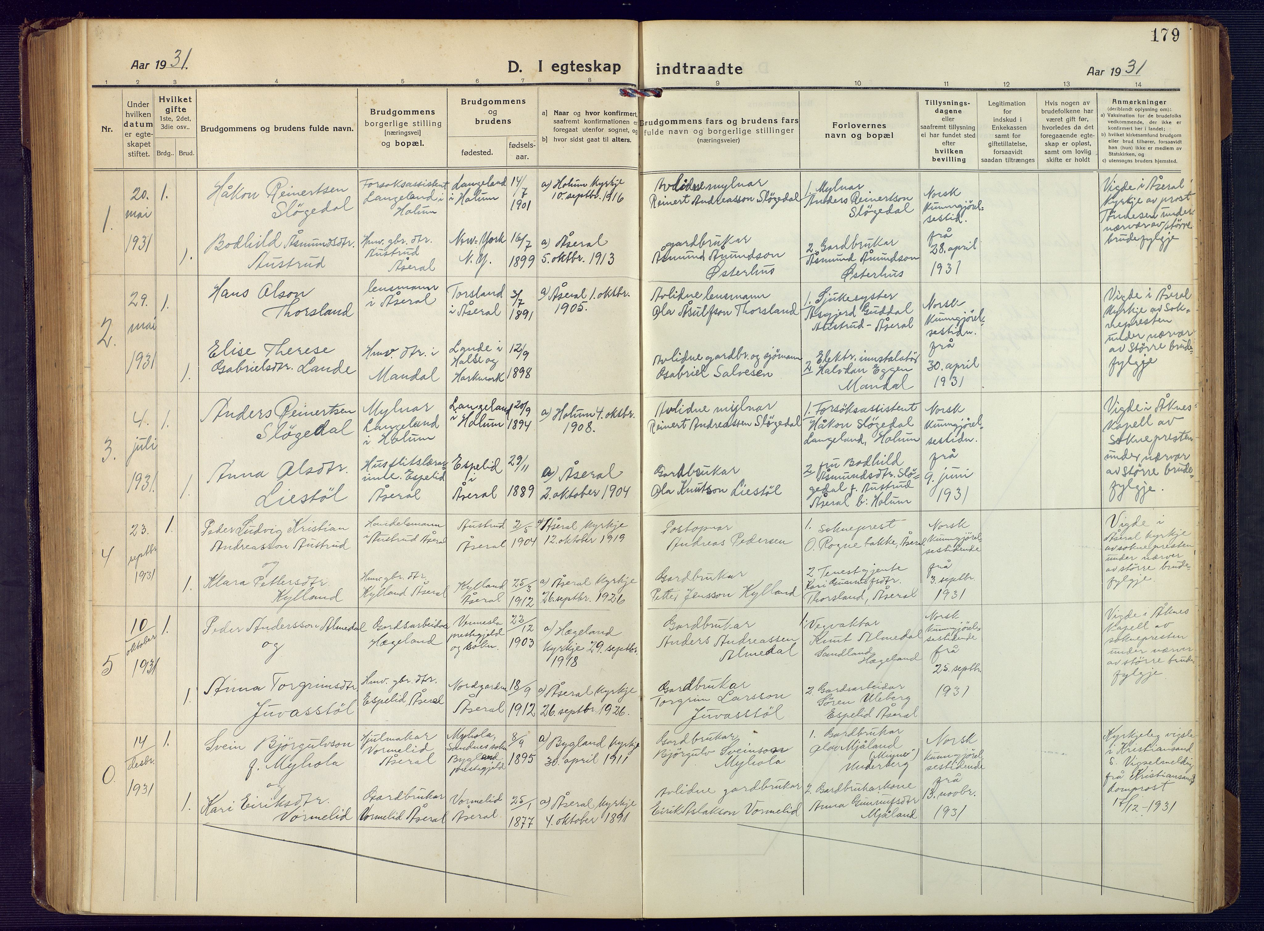 SAK, Åseral sokneprestkontor, F/Fb/L0004: Klokkerbok nr. B 4, 1920-1946, s. 179