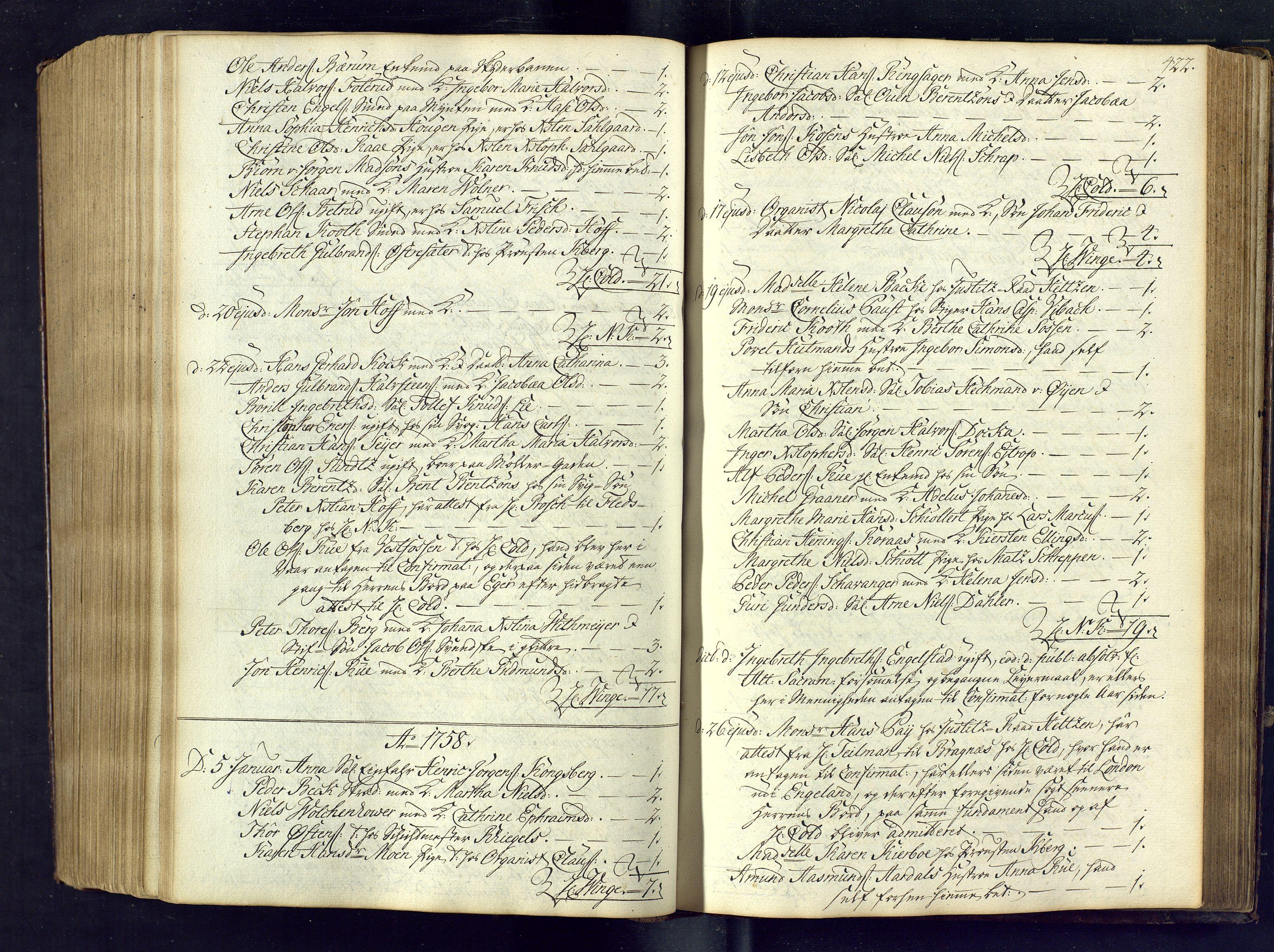 SAKO, Kongsberg kirkebøker, M/Ma/L0005: Kommunikantprotokoll nr. 5, 1755-1761, s. 422