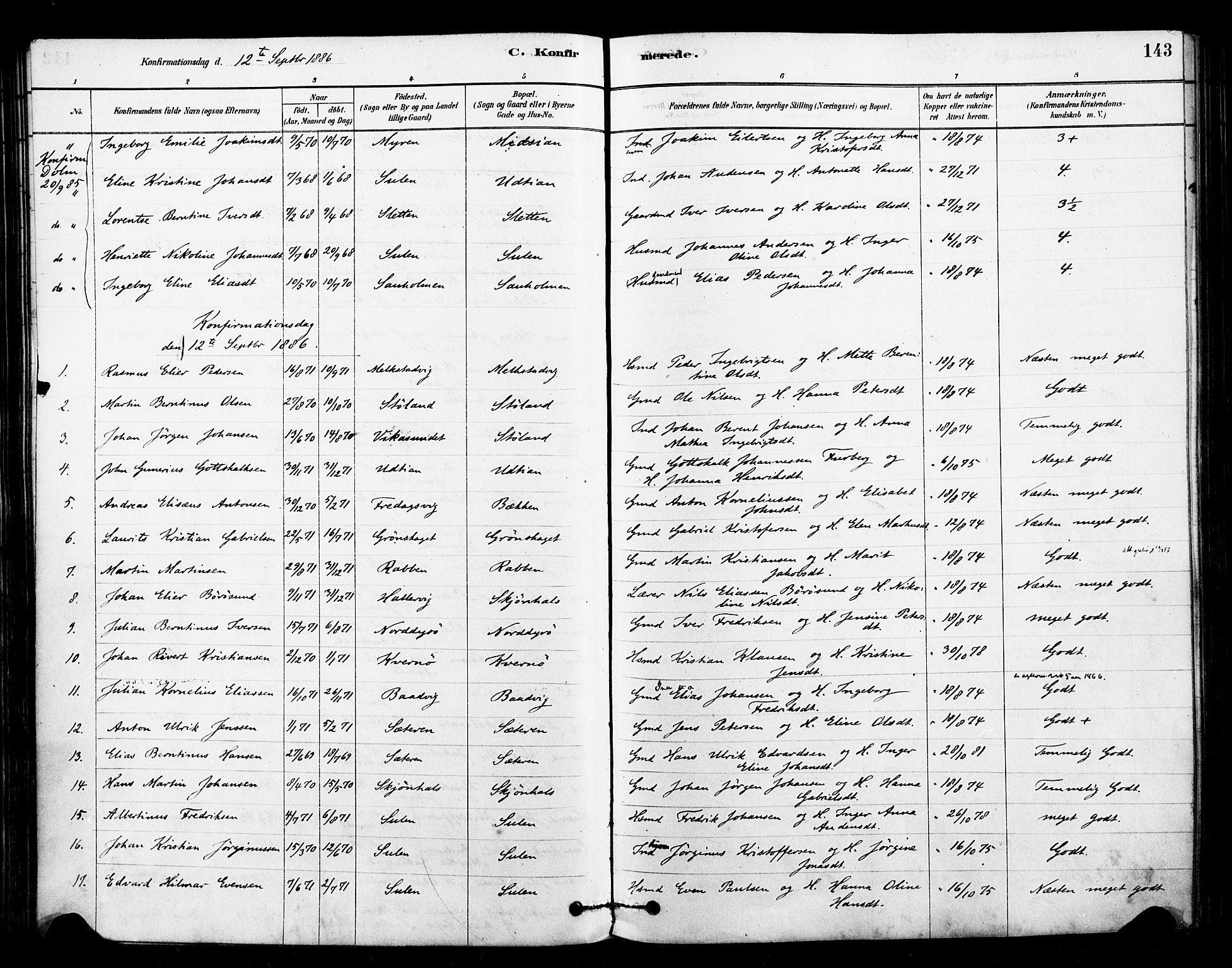 SAT, Ministerialprotokoller, klokkerbøker og fødselsregistre - Sør-Trøndelag, 640/L0578: Ministerialbok nr. 640A03, 1879-1889, s. 143