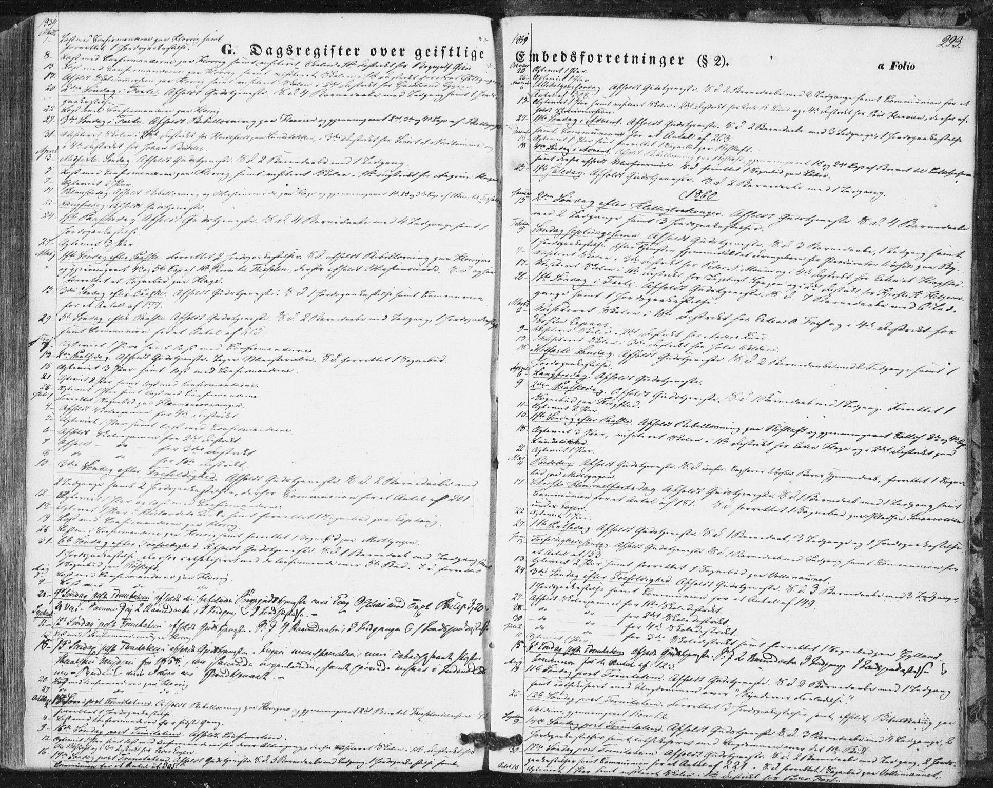 SAT, Ministerialprotokoller, klokkerbøker og fødselsregistre - Sør-Trøndelag, 692/L1103: Ministerialbok nr. 692A03, 1849-1870, s. 293