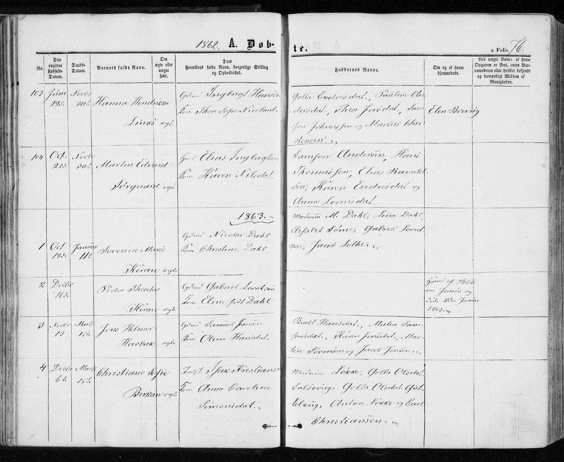 SAT, Ministerialprotokoller, klokkerbøker og fødselsregistre - Sør-Trøndelag, 657/L0705: Ministerialbok nr. 657A06, 1858-1867, s. 76