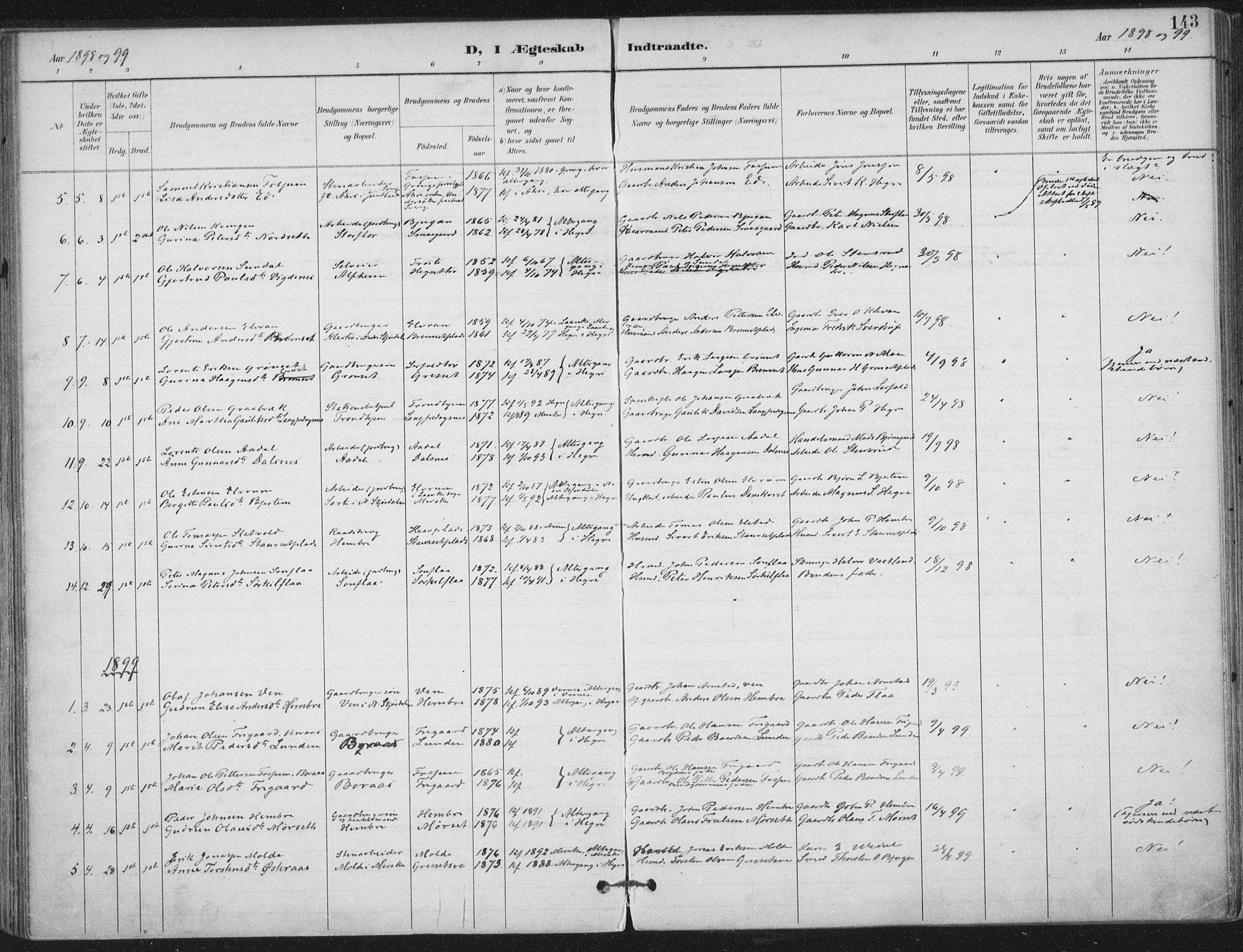 SAT, Ministerialprotokoller, klokkerbøker og fødselsregistre - Nord-Trøndelag, 703/L0031: Ministerialbok nr. 703A04, 1893-1914, s. 143