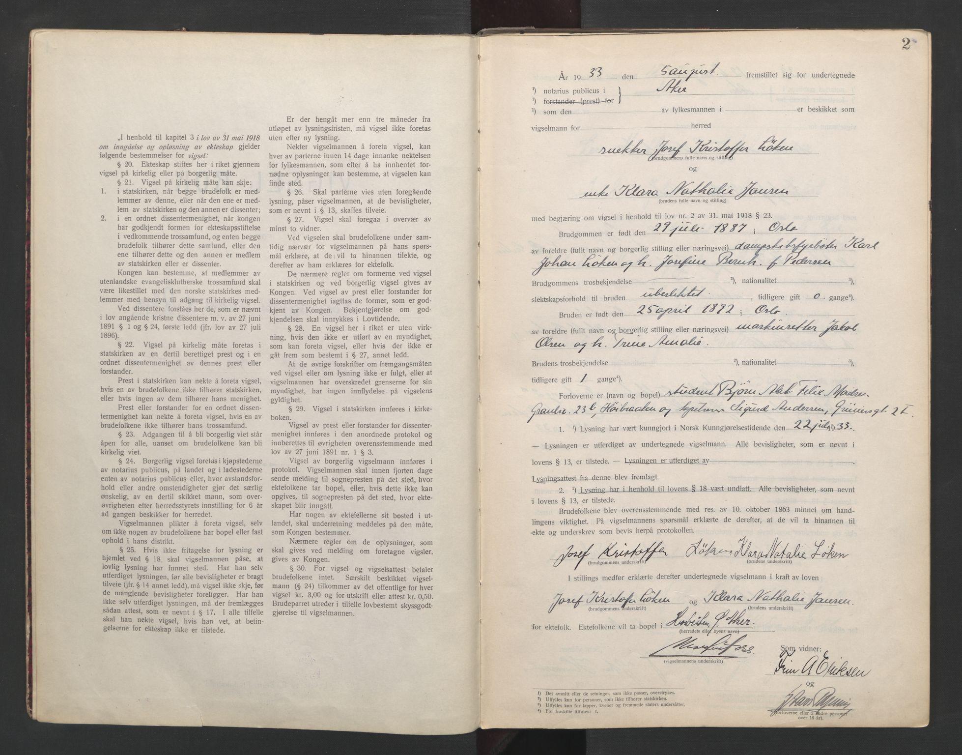 SAO, Aker sorenskriveri, L/Lc/Lcb/L0007: Vigselprotokoll, 1933-1935, s. 2