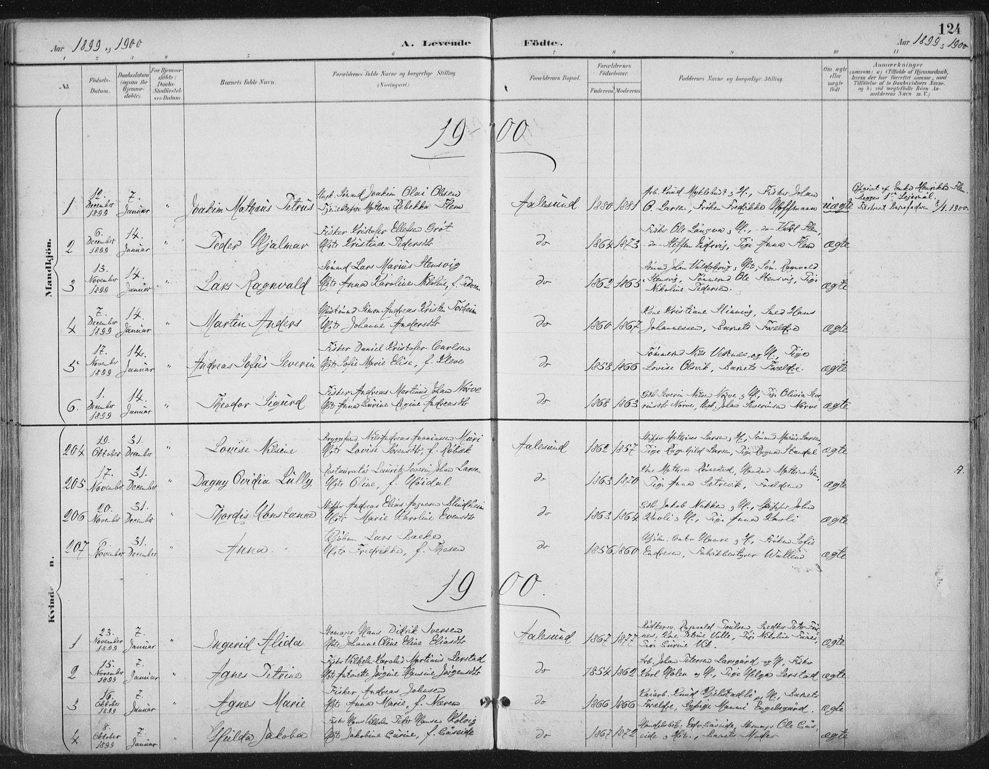 SAT, Ministerialprotokoller, klokkerbøker og fødselsregistre - Møre og Romsdal, 529/L0456: Ministerialbok nr. 529A06, 1894-1906, s. 124